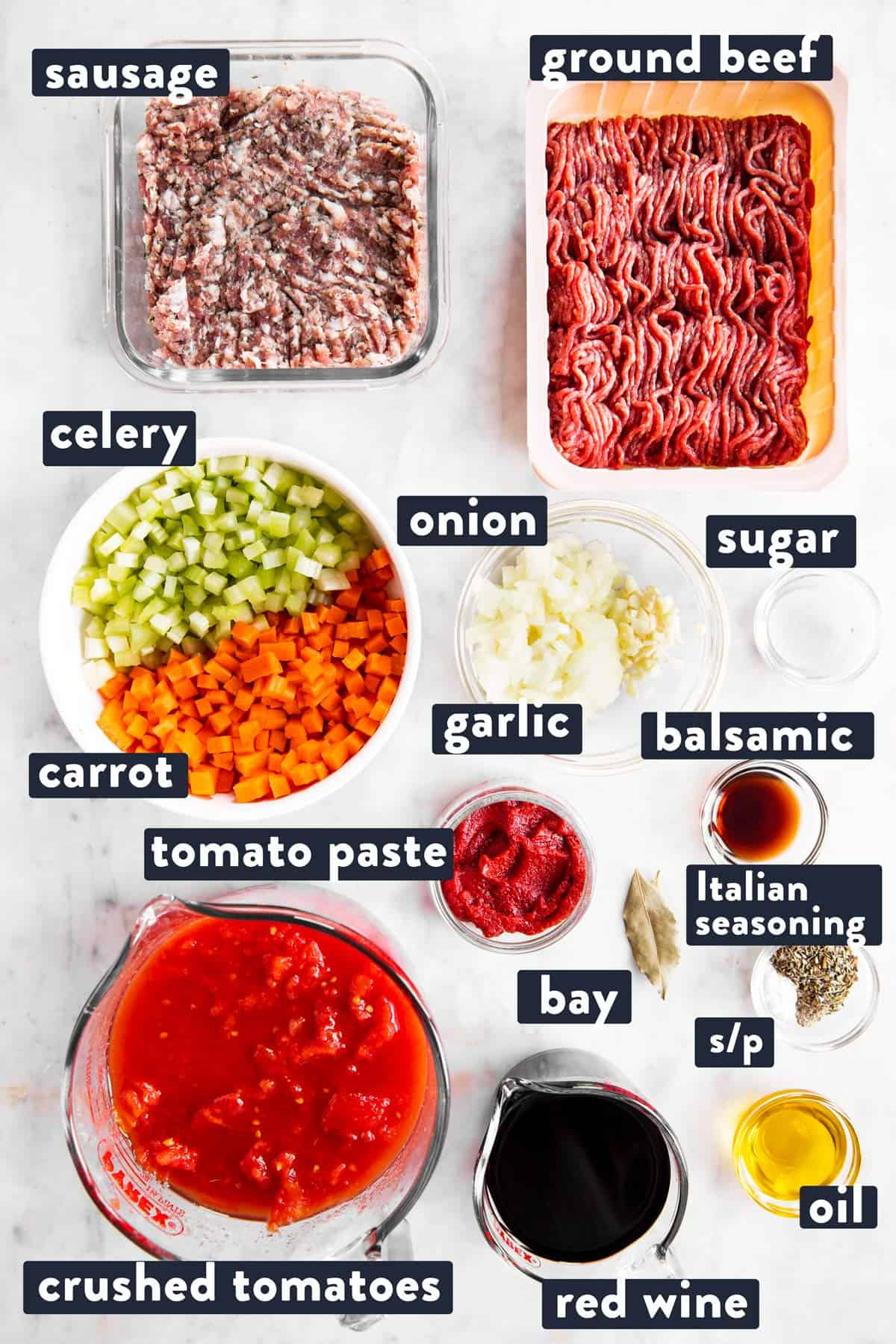 ingredients for bolognese sauce with text labels