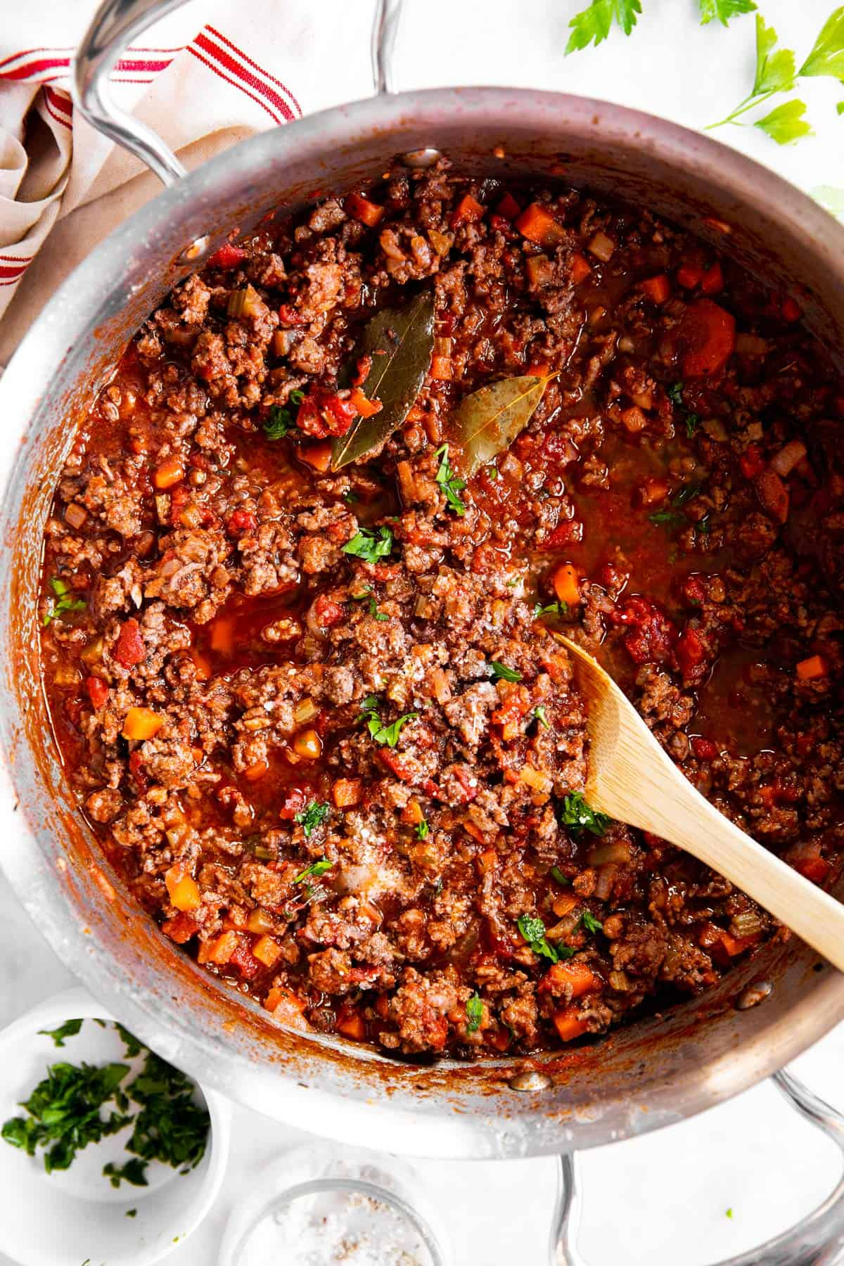overhead view of Bolognese sauce in pan