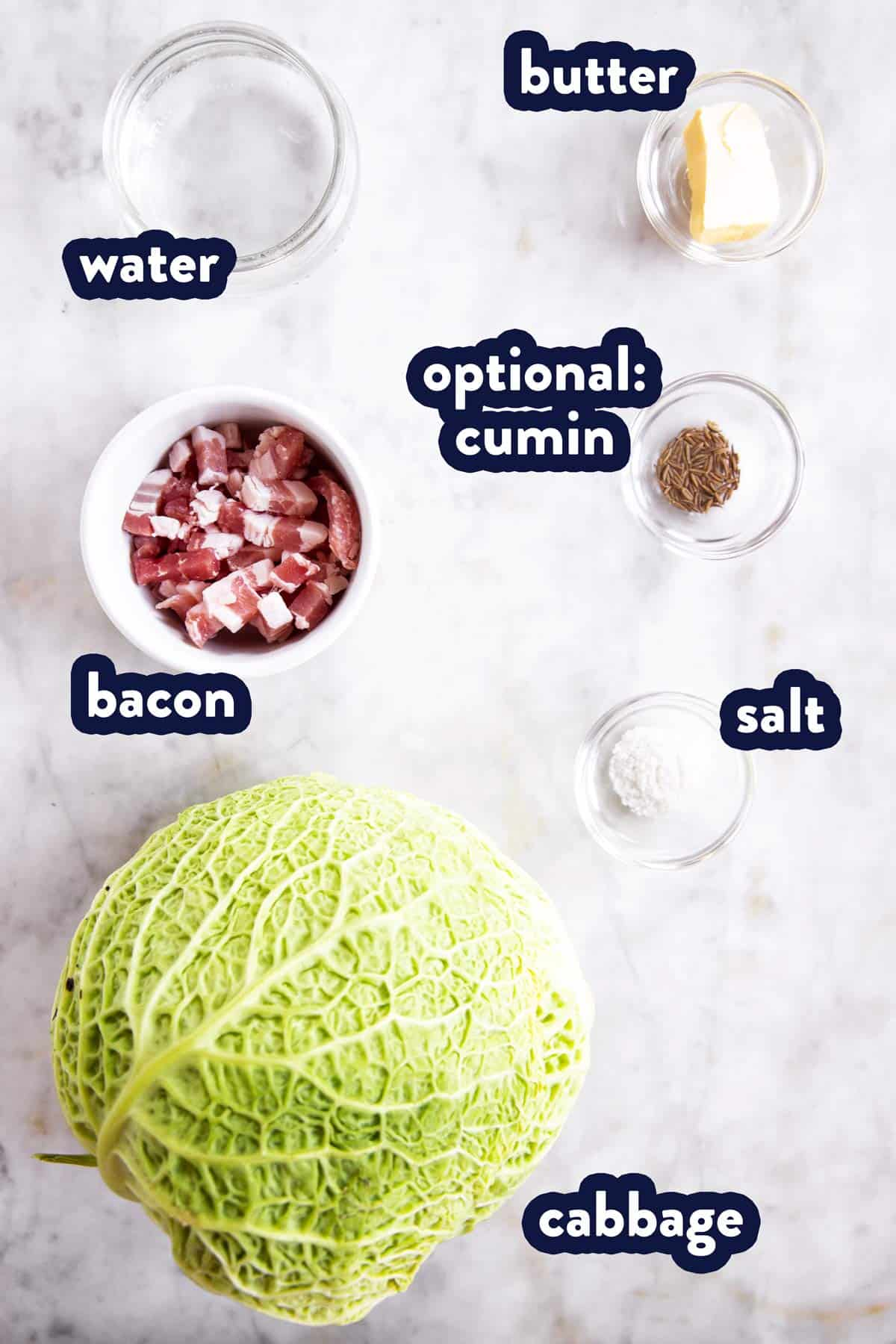 ingredients for braised cabbage with text labels
