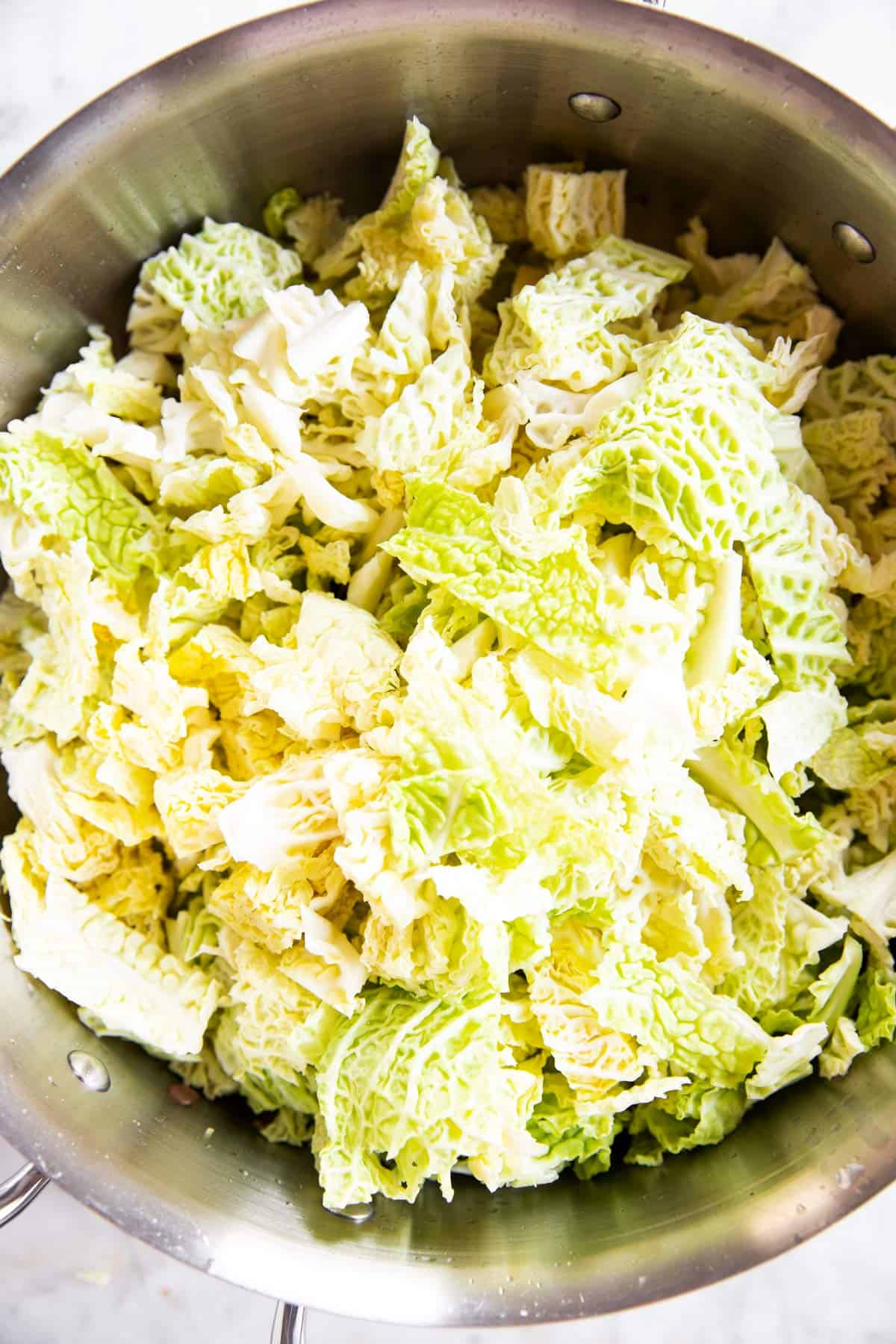 diced cabbage in skillet