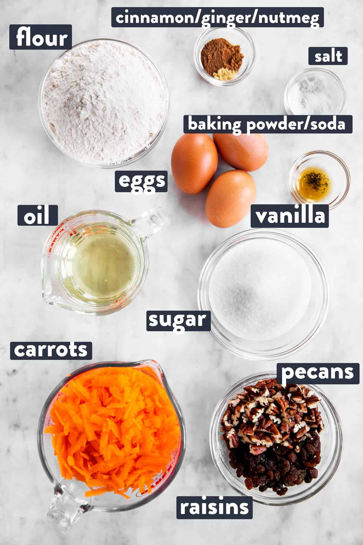 ingredients for carrot muffins with text labels