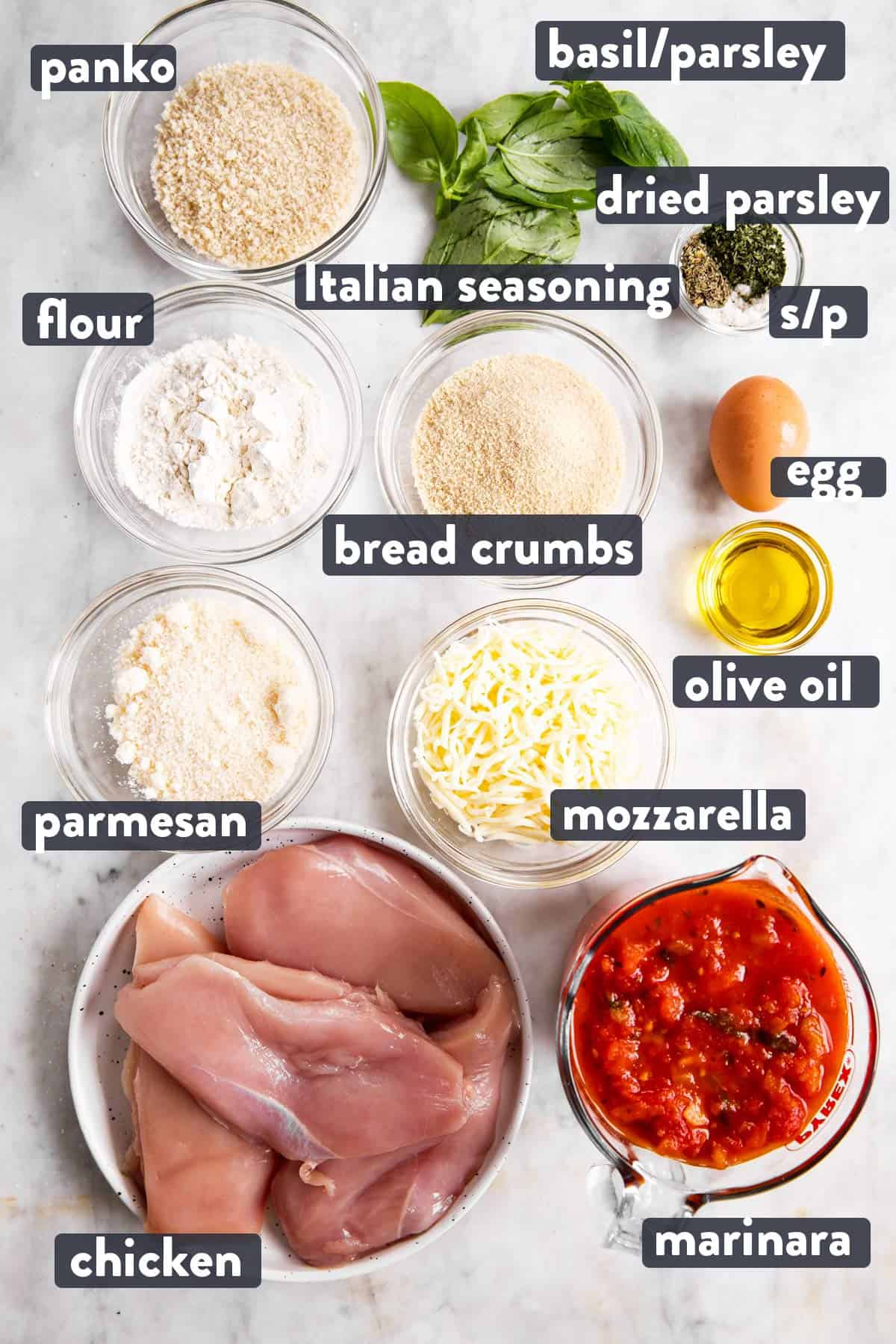 ingredients for chicken parmesan with text labels
