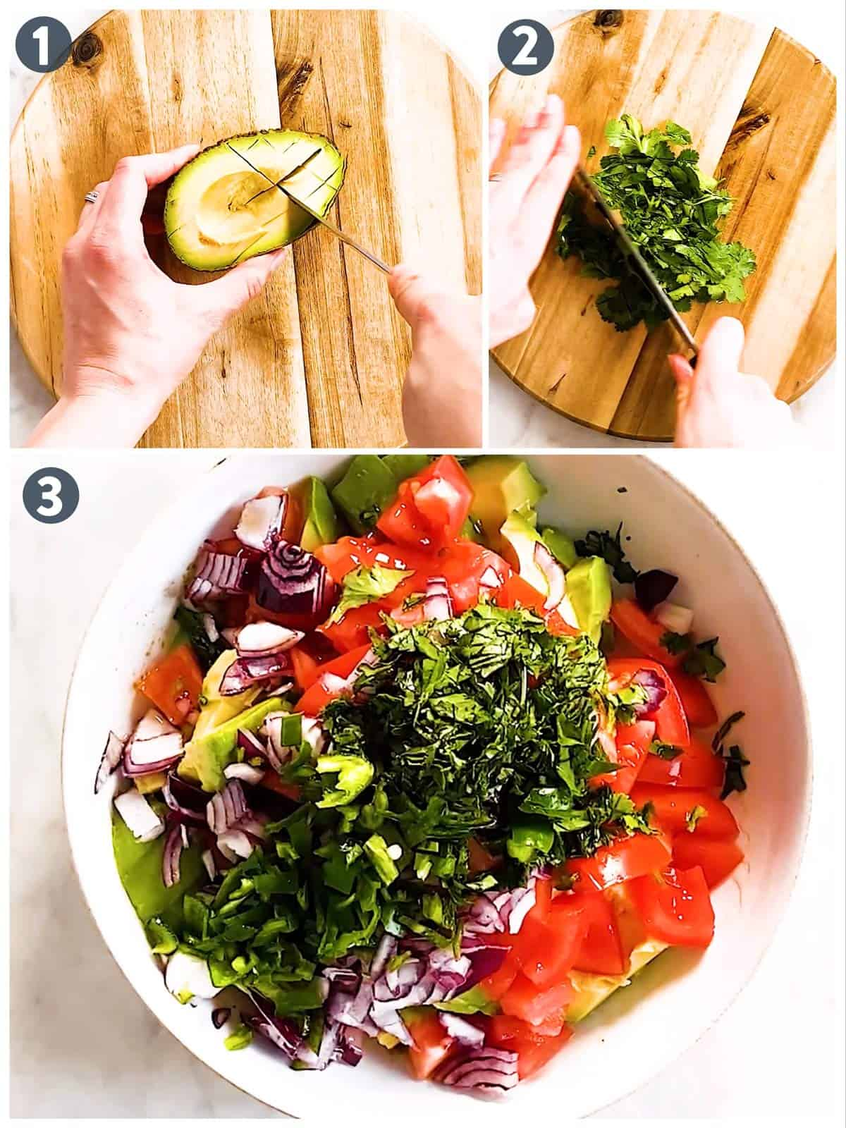 photo collage to show how to slice ingredients for avocado salsa