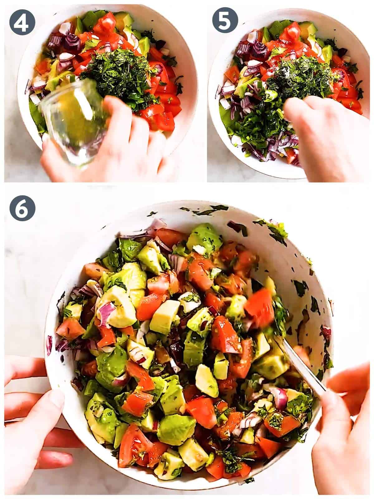 photo collage to show how combine avocado salsa