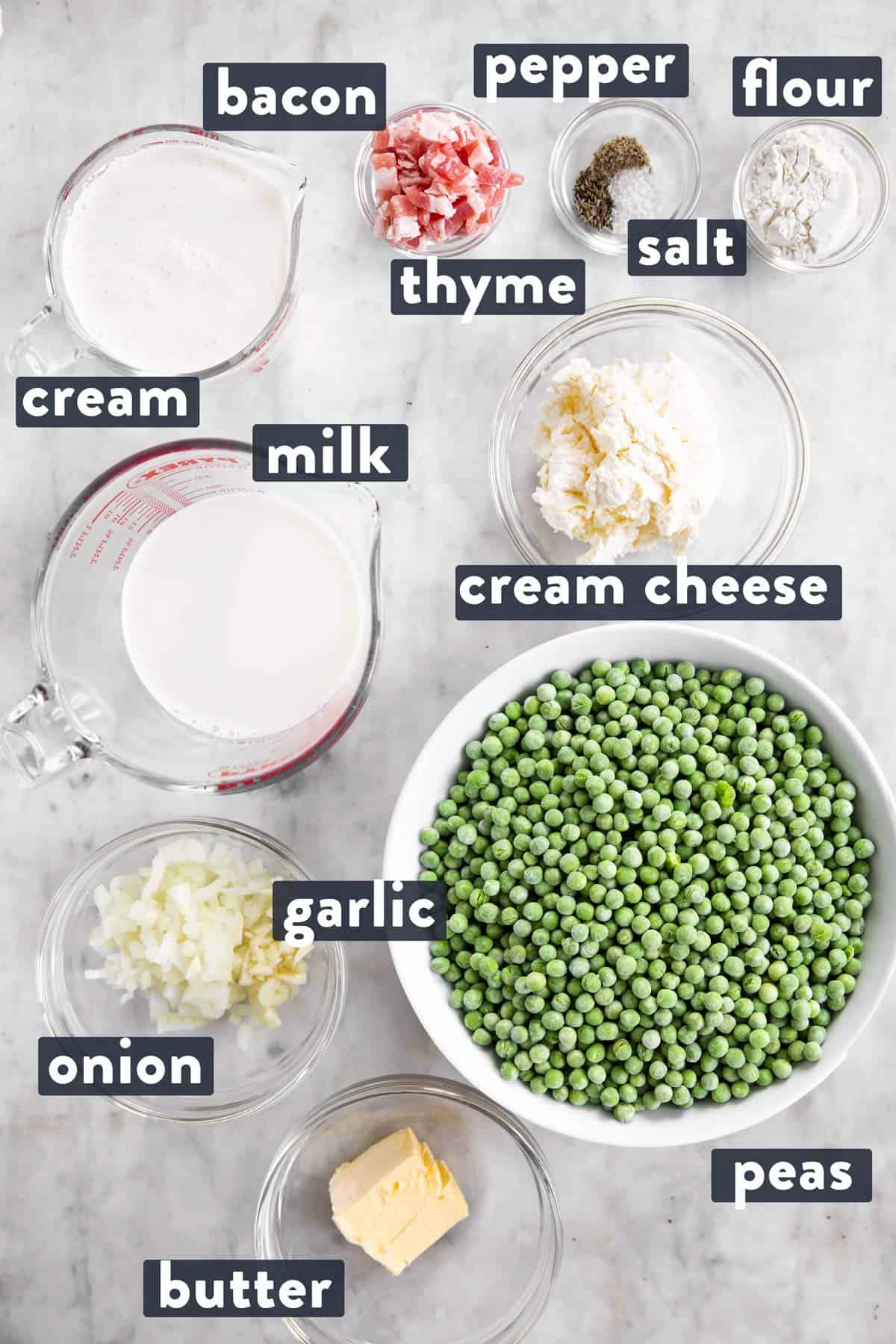 ingredients for creamed peas with text labels