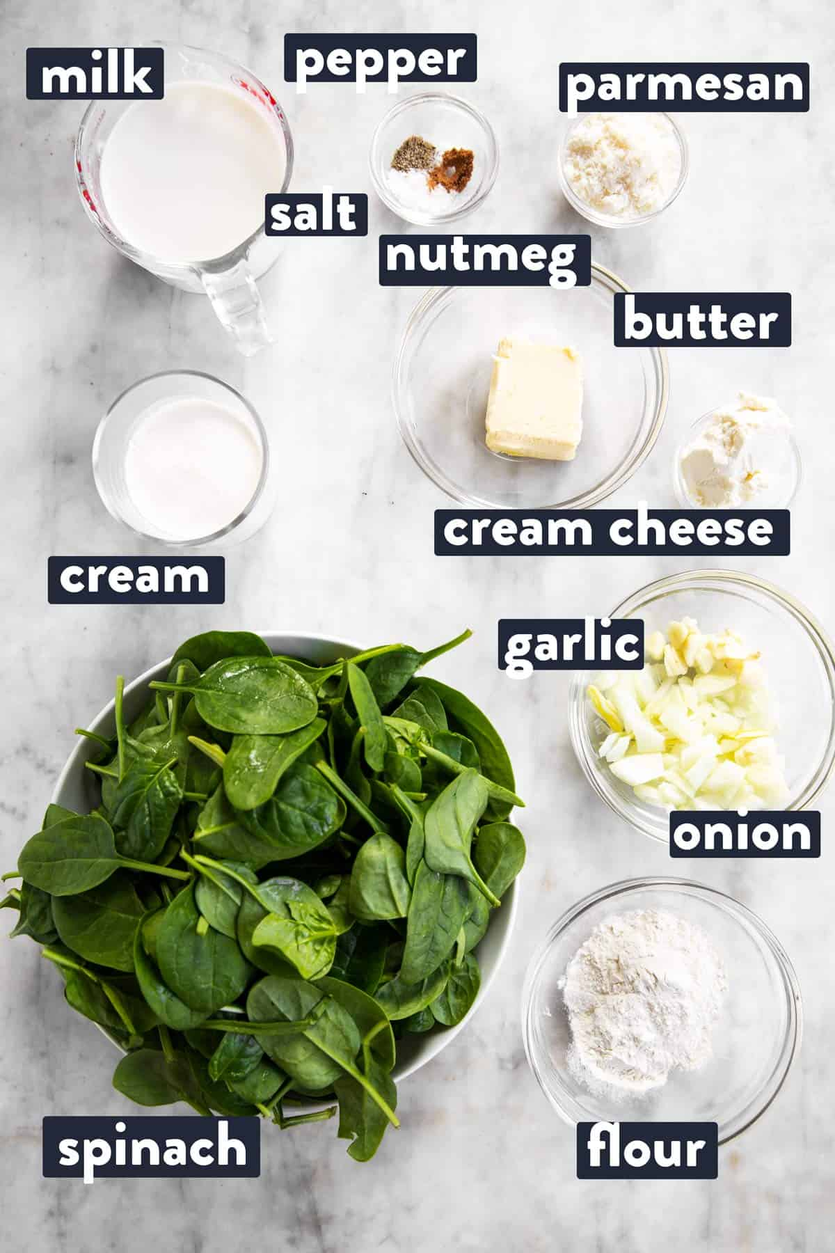 ingredients for creamed spinach with text labels