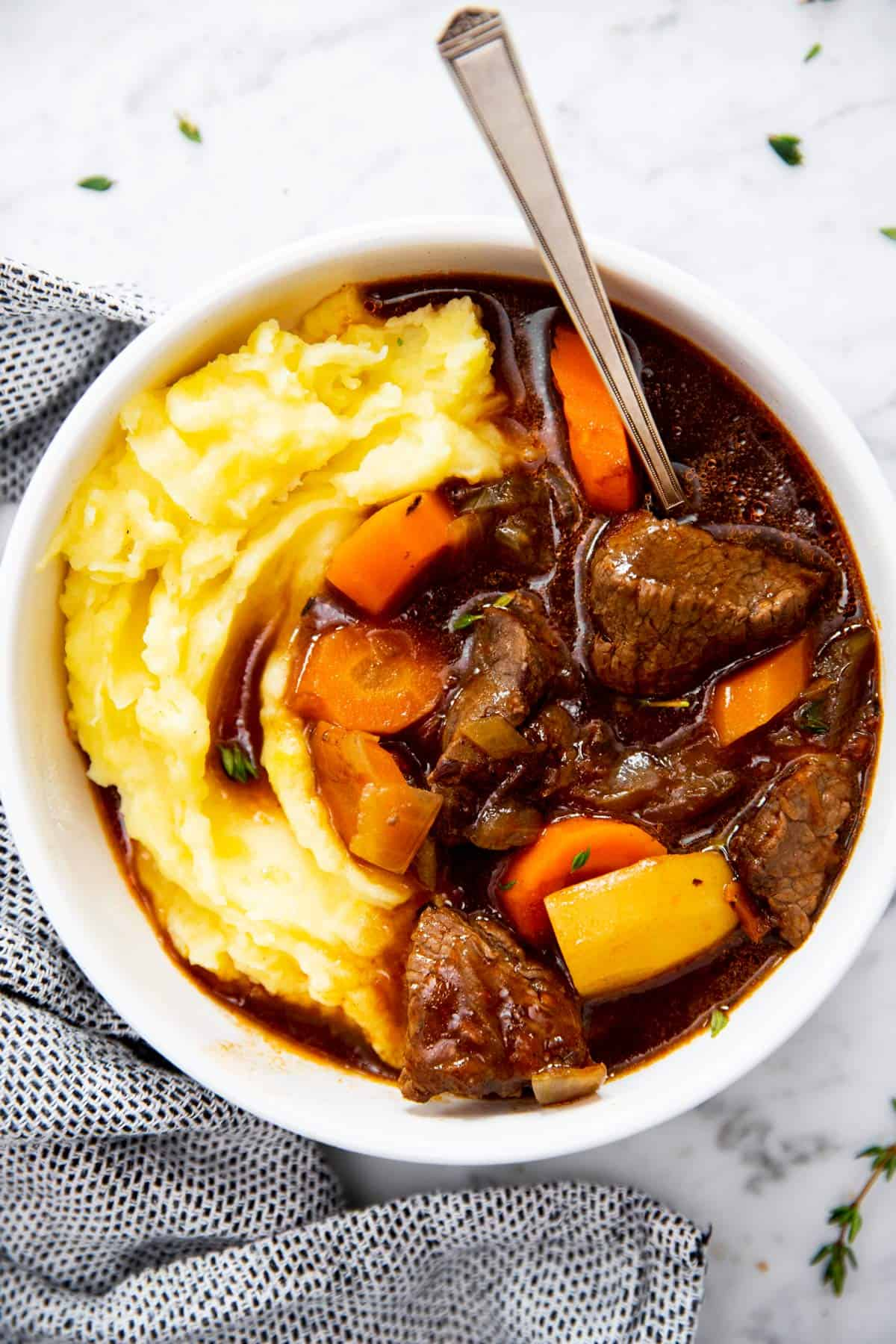 white bowl filled with Guinness beef stew