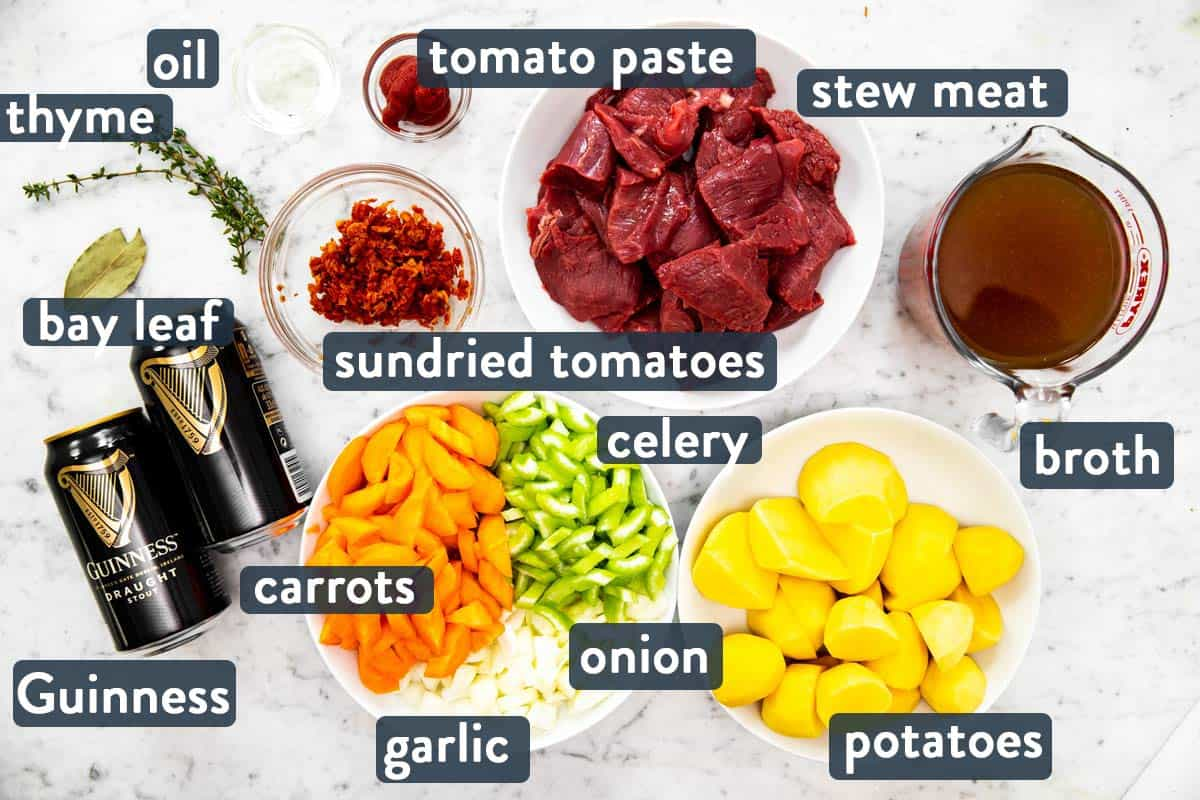 ingredients for Guinness beef stew with text labels