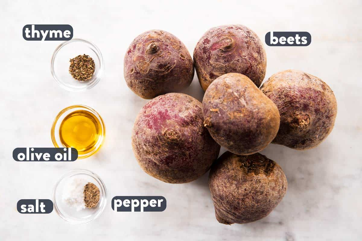 ingredients for roasted beets with text labels