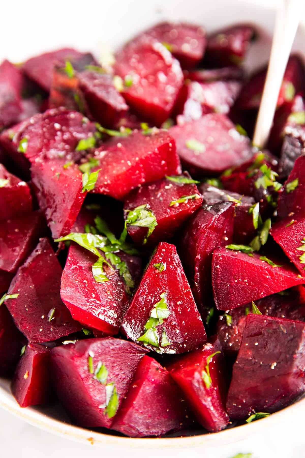close up photo of roasted beets with parsley