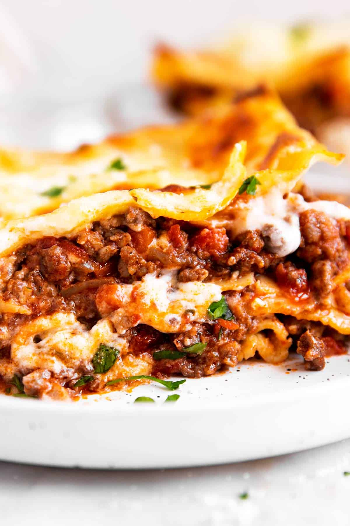close up photo of slice of lasagna on white plate