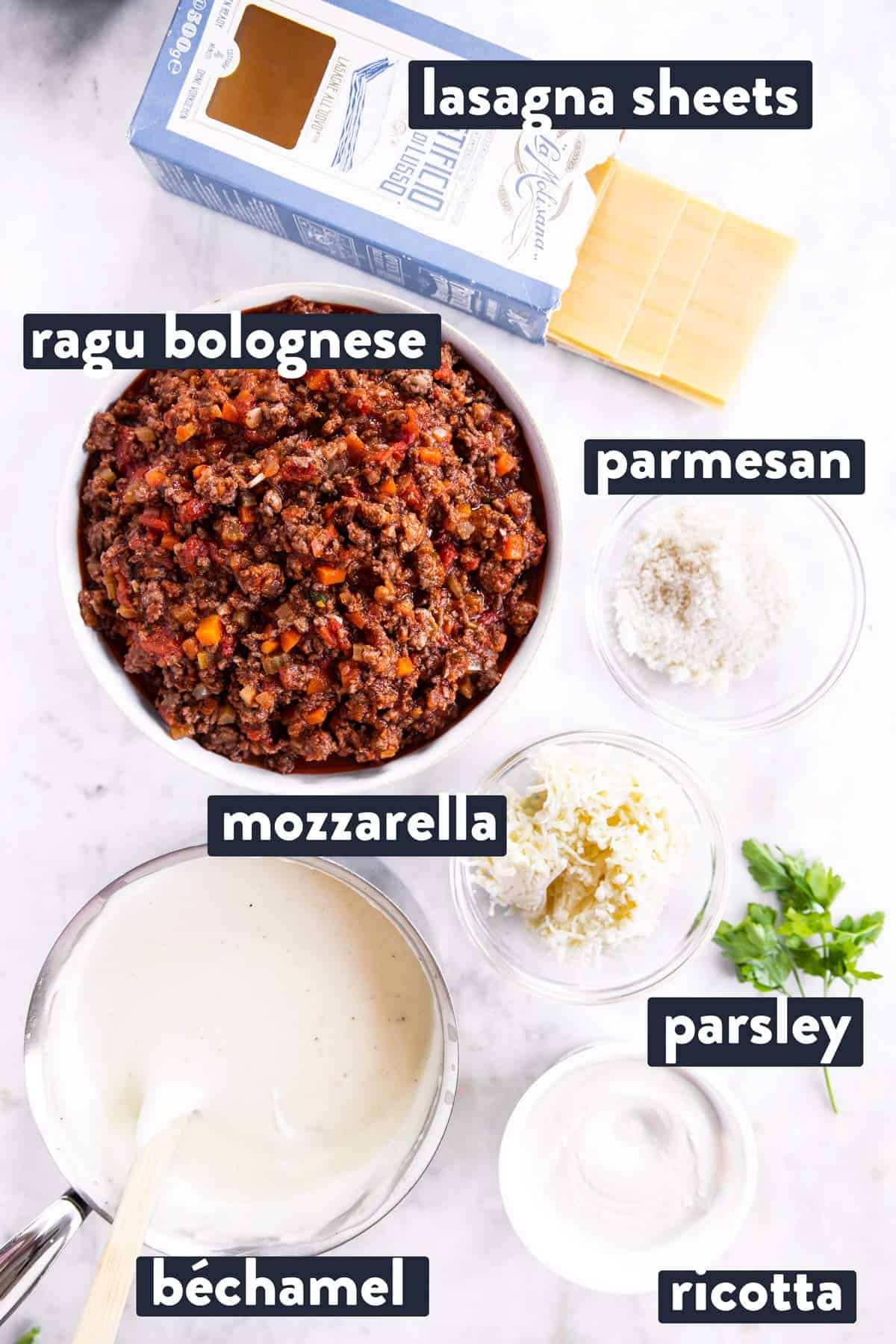 ingredients for lasagna with text labels