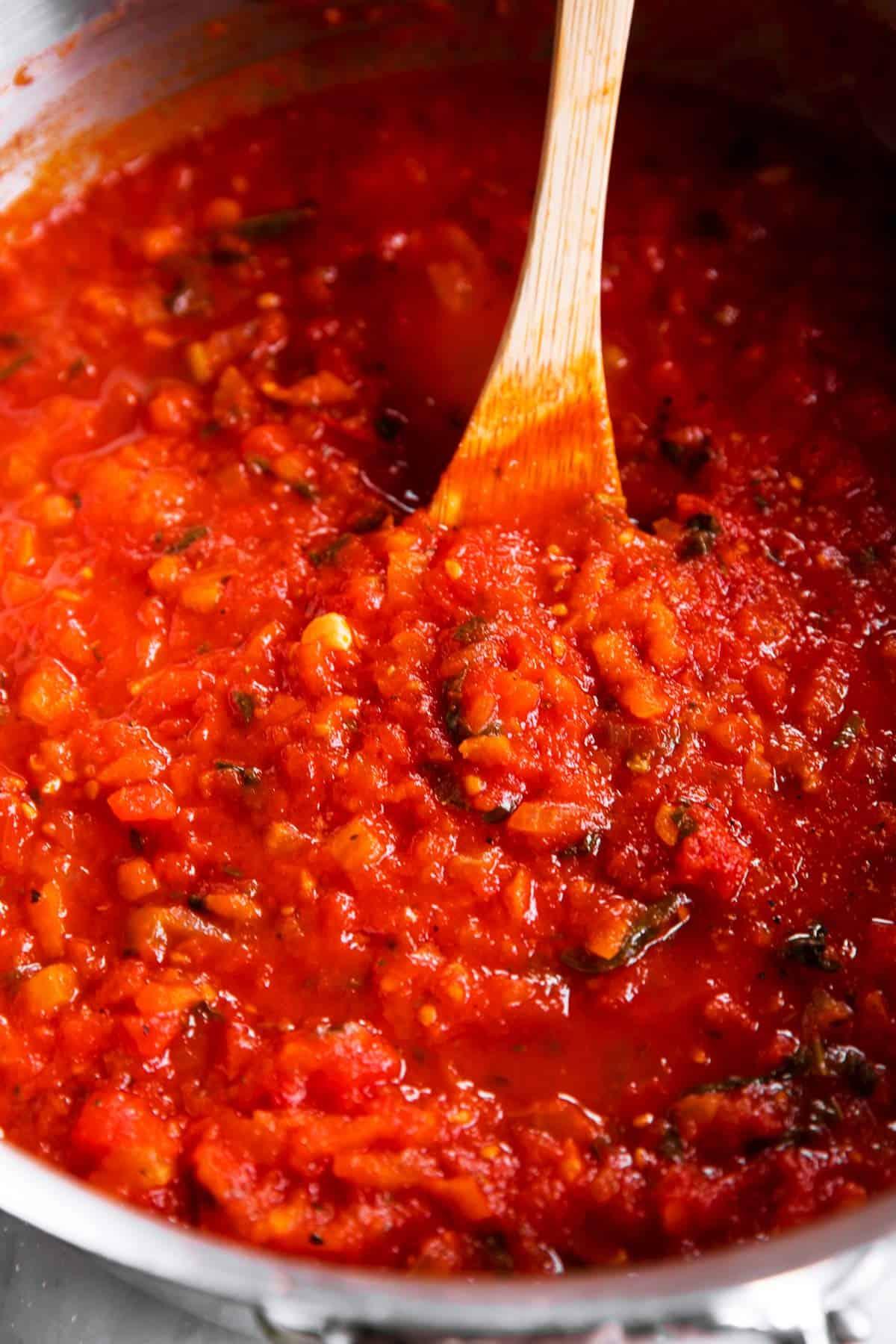 close up photo of homemade marinara sauce