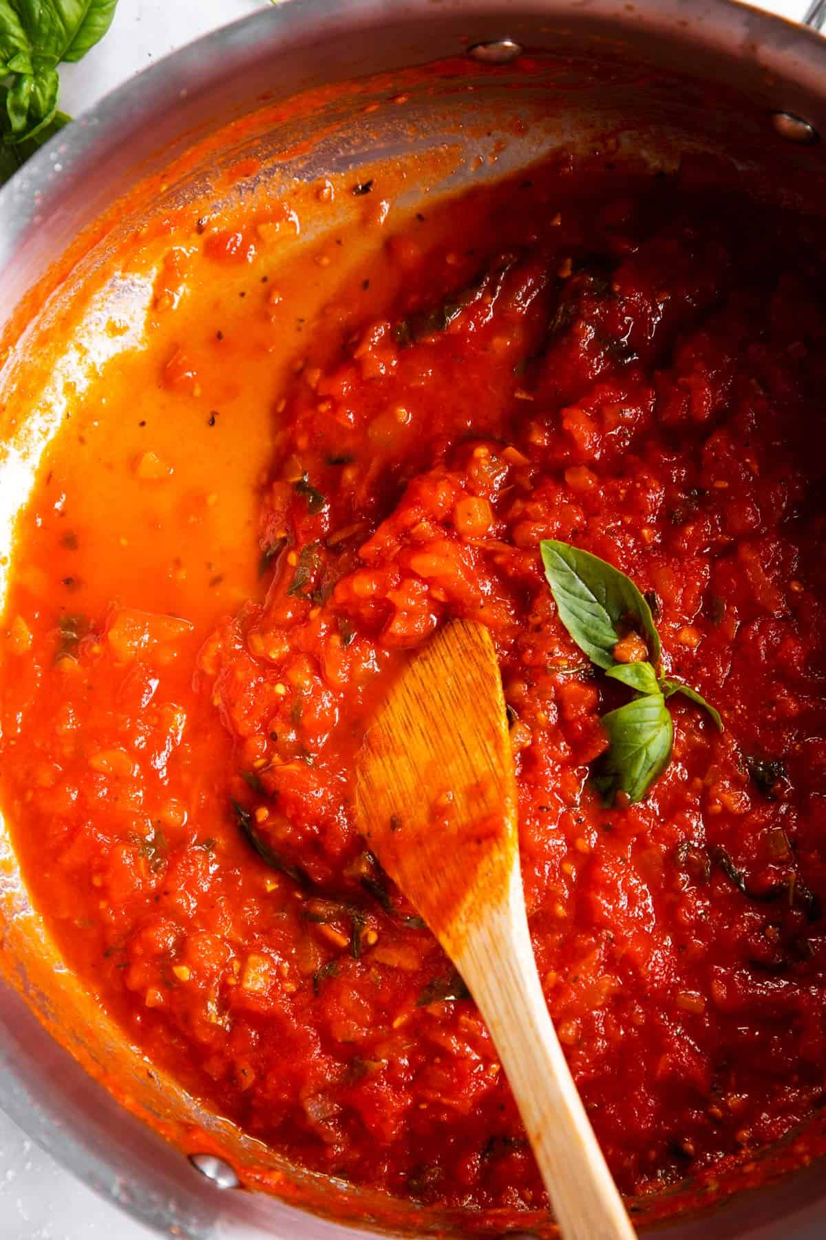 pan with leftover marinara sauce