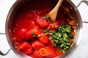ingredients for marinara sauce in skillet