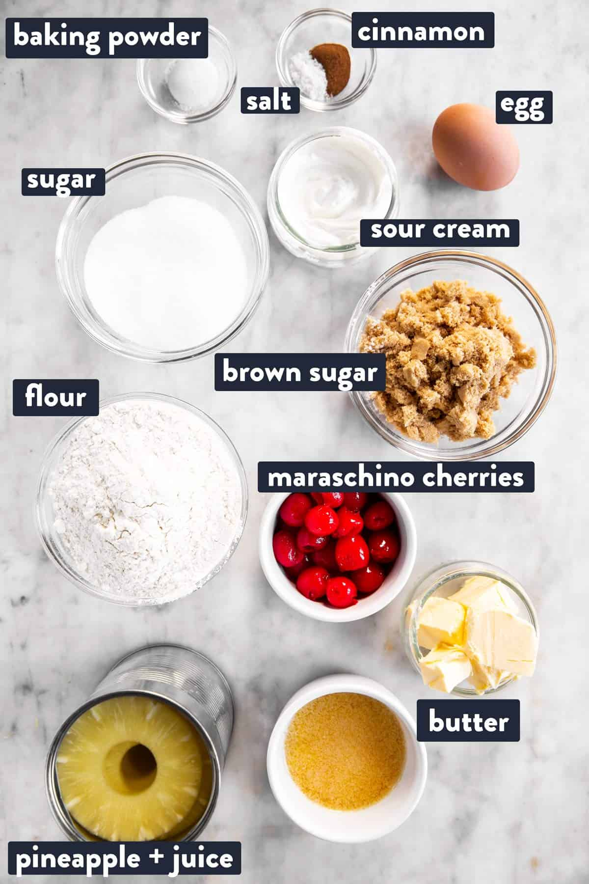 ingredients for pineapple upside down cake with text labels