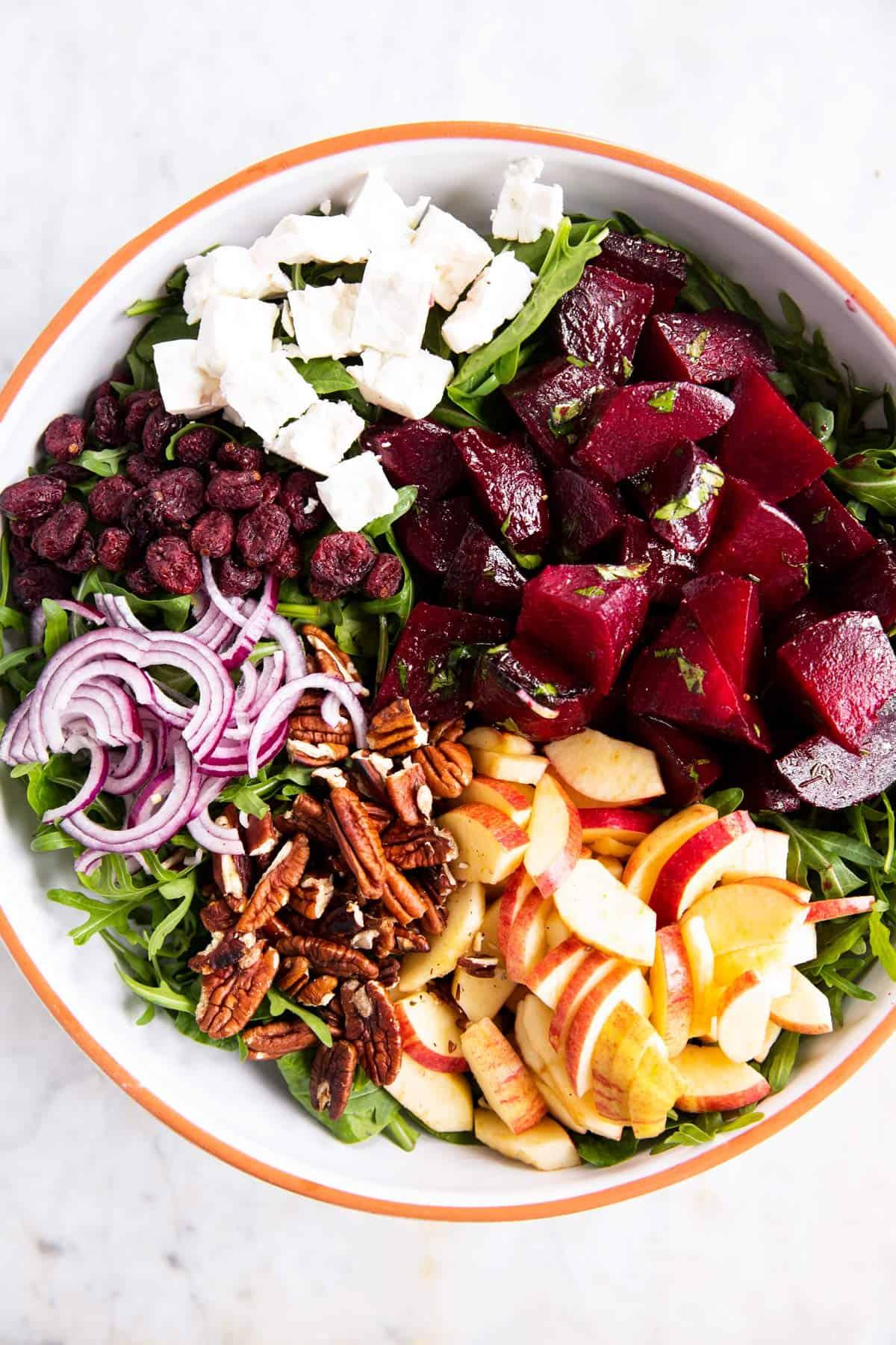 salad bowl with beet salad ingredients