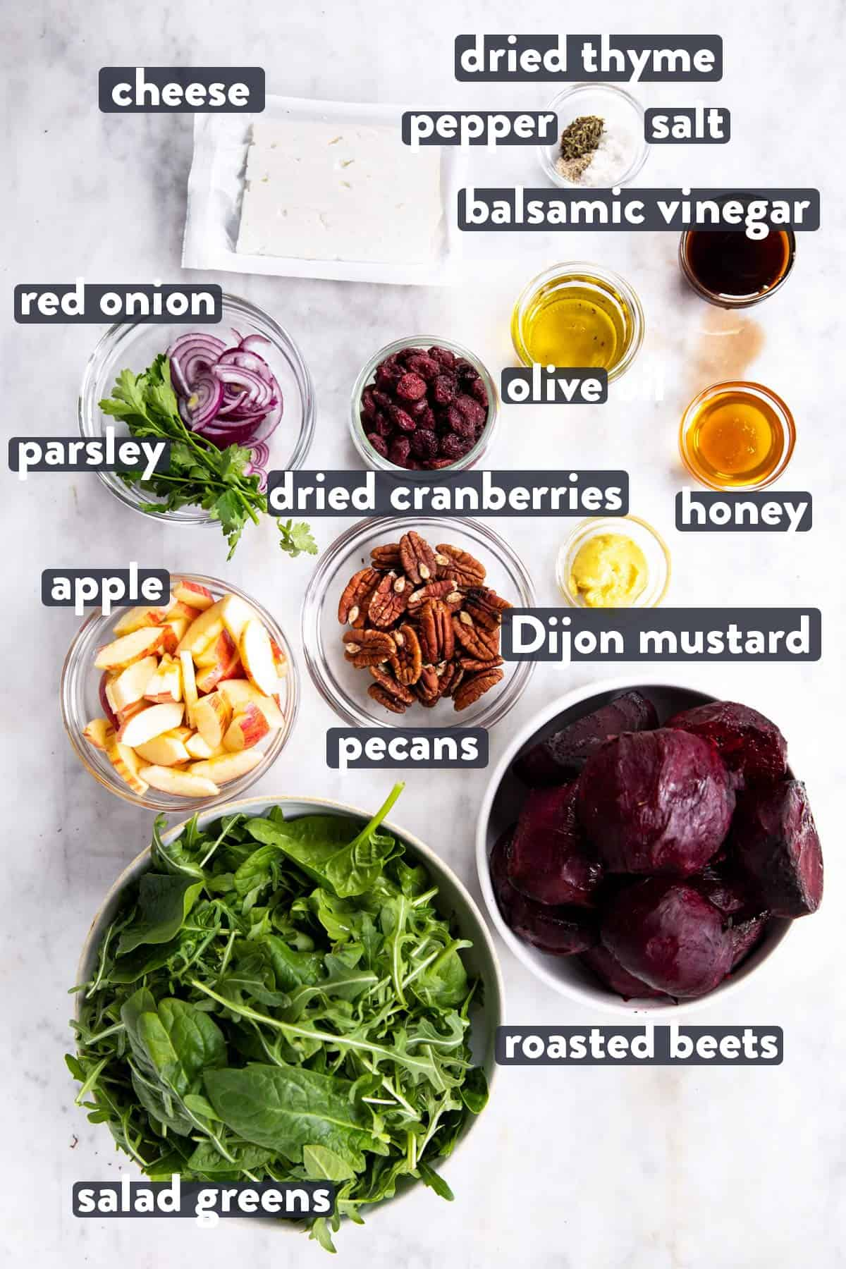 ingredients for roasted beet salad with text labels