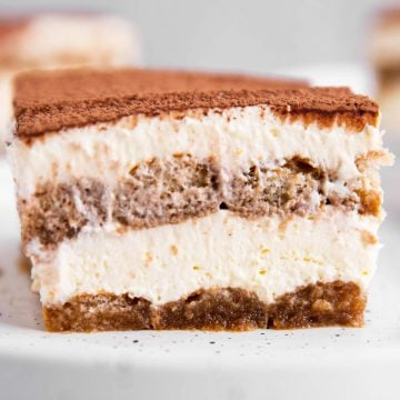 slice of tiramisu on white plate