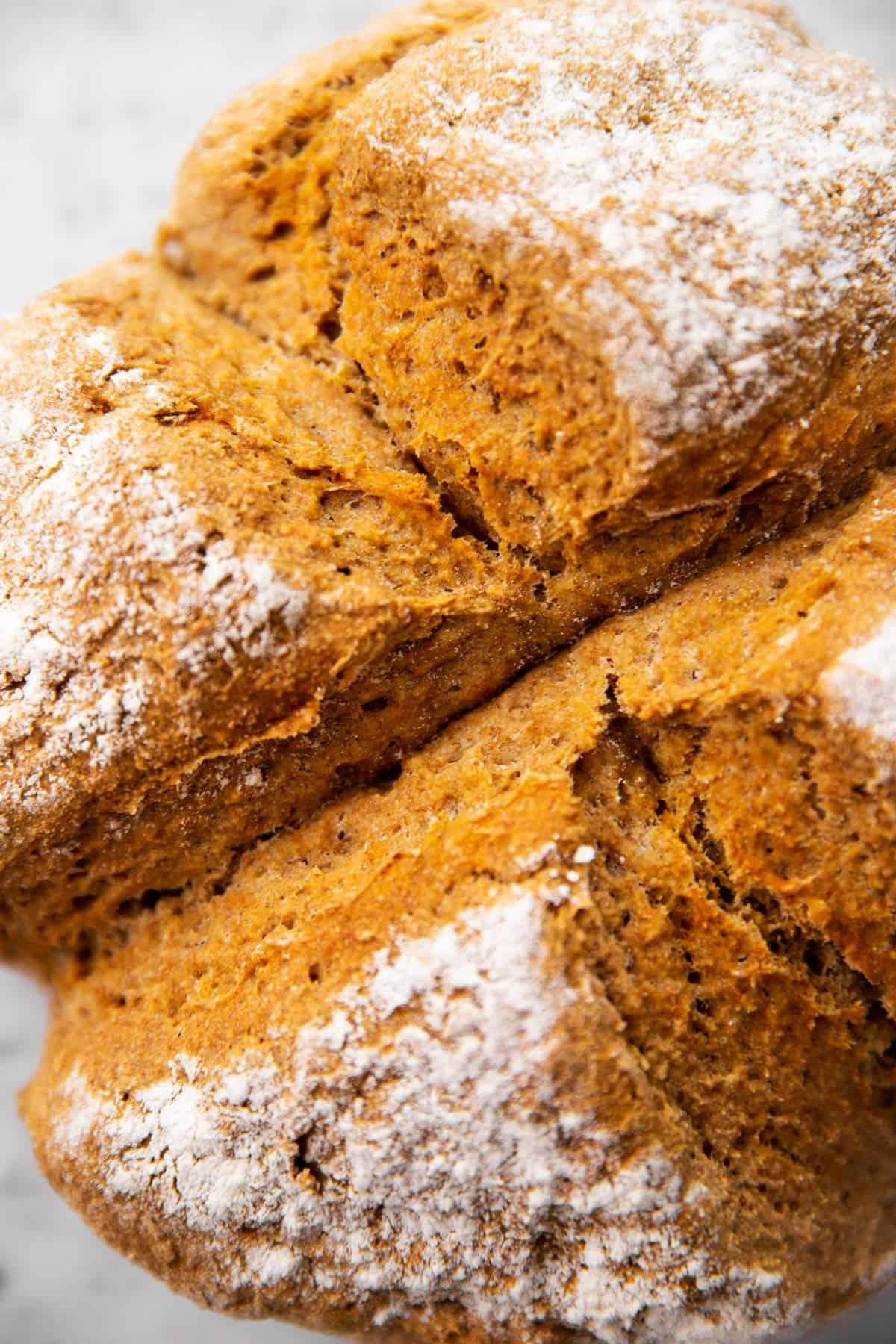 close up photo of baked Irish soda bread