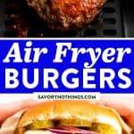 Air Fryer Burgers Image Pin 1