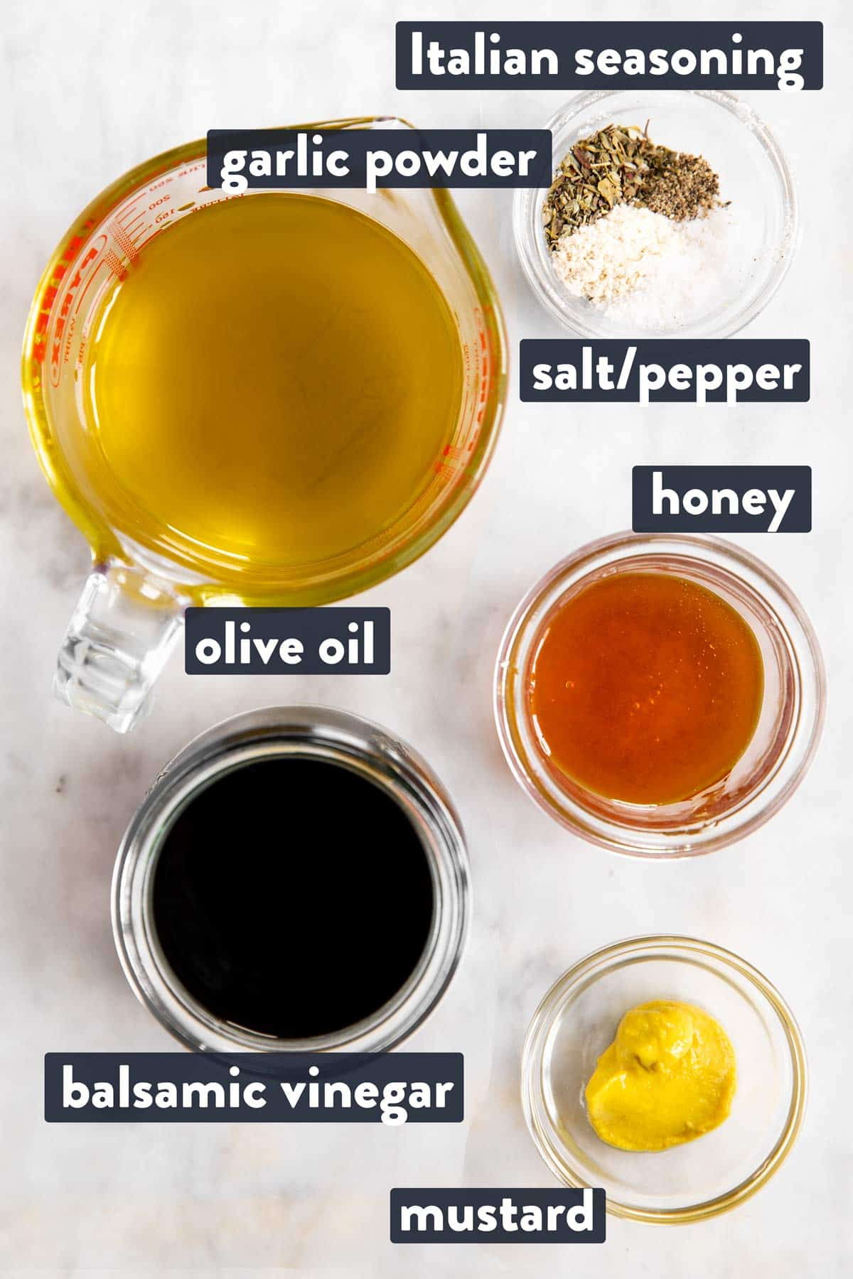ingredients for balsamic vinaigrette dressing with text labels