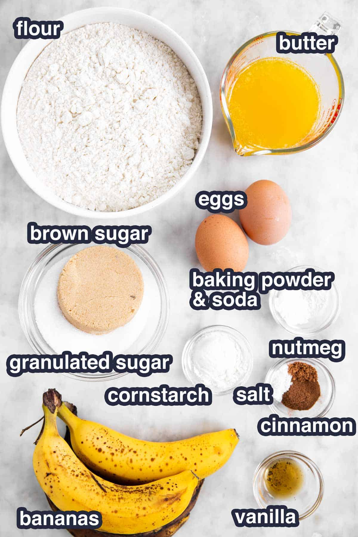 ingredients for banana bread with text labels