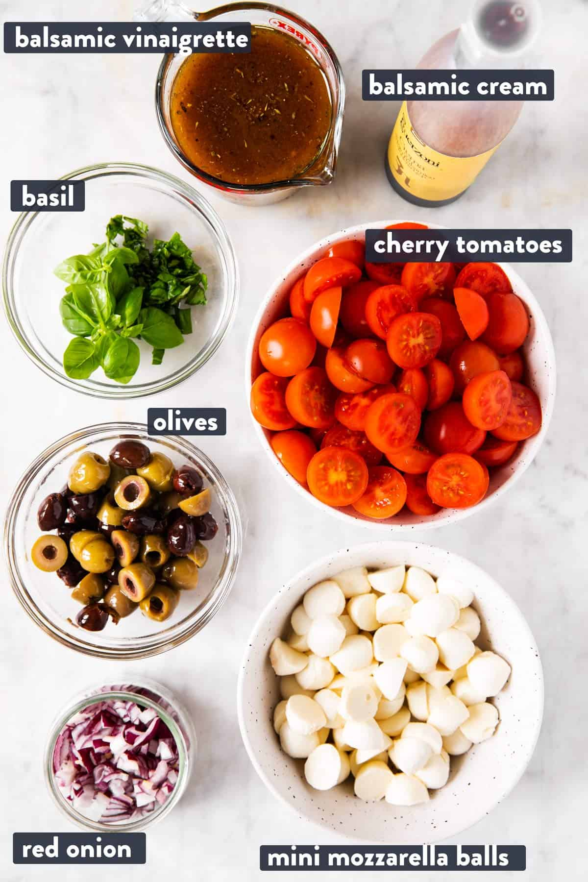 ingredients for cherry tomato salad with text labels