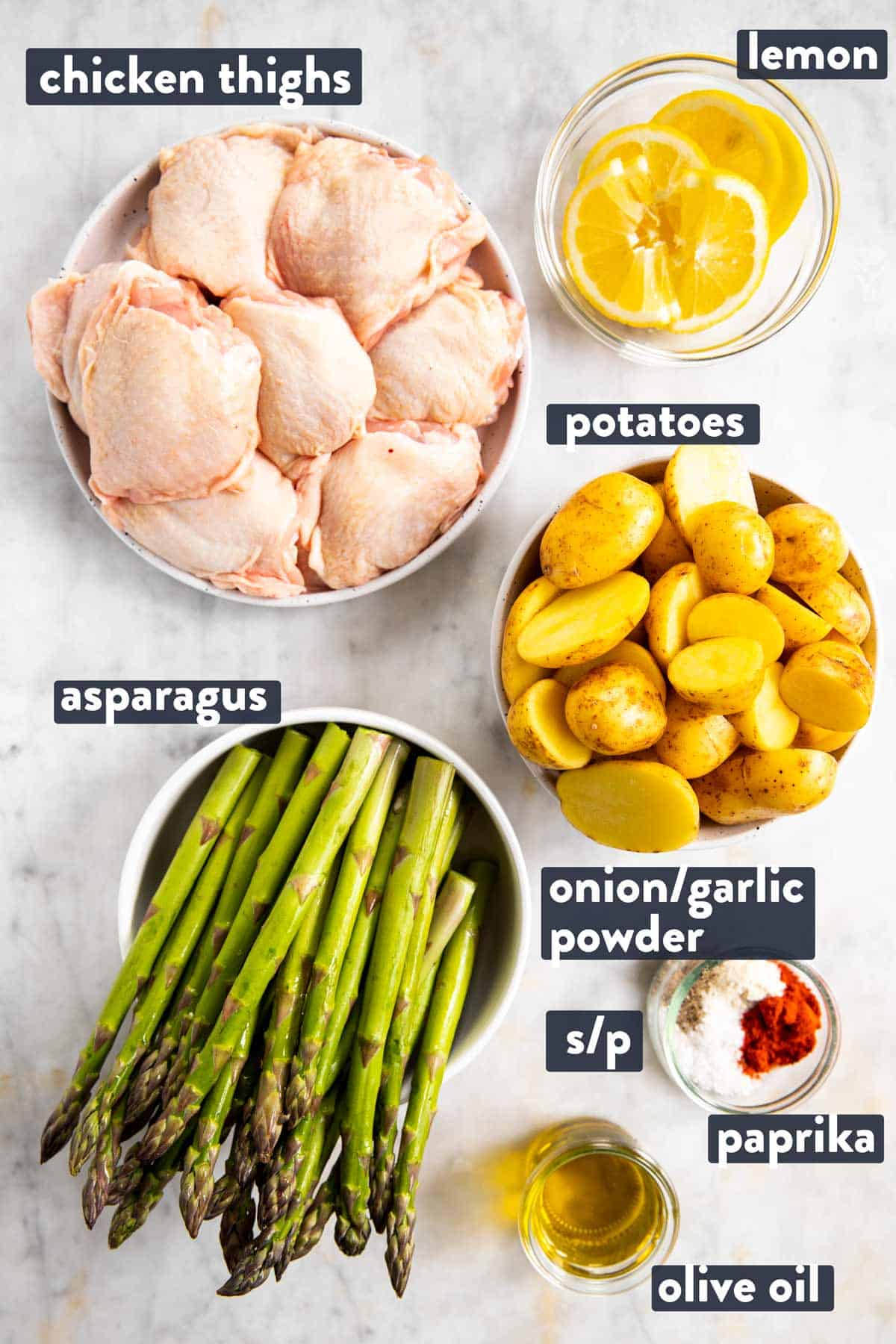 ingredients for chicken and asparagus sheet pan dinner with text labels