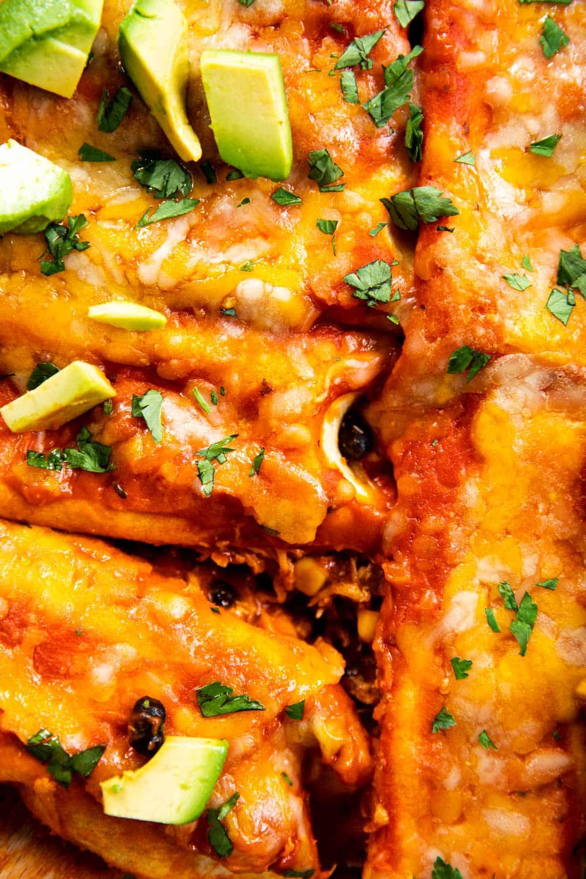 close up photo of chicken enchiladas
