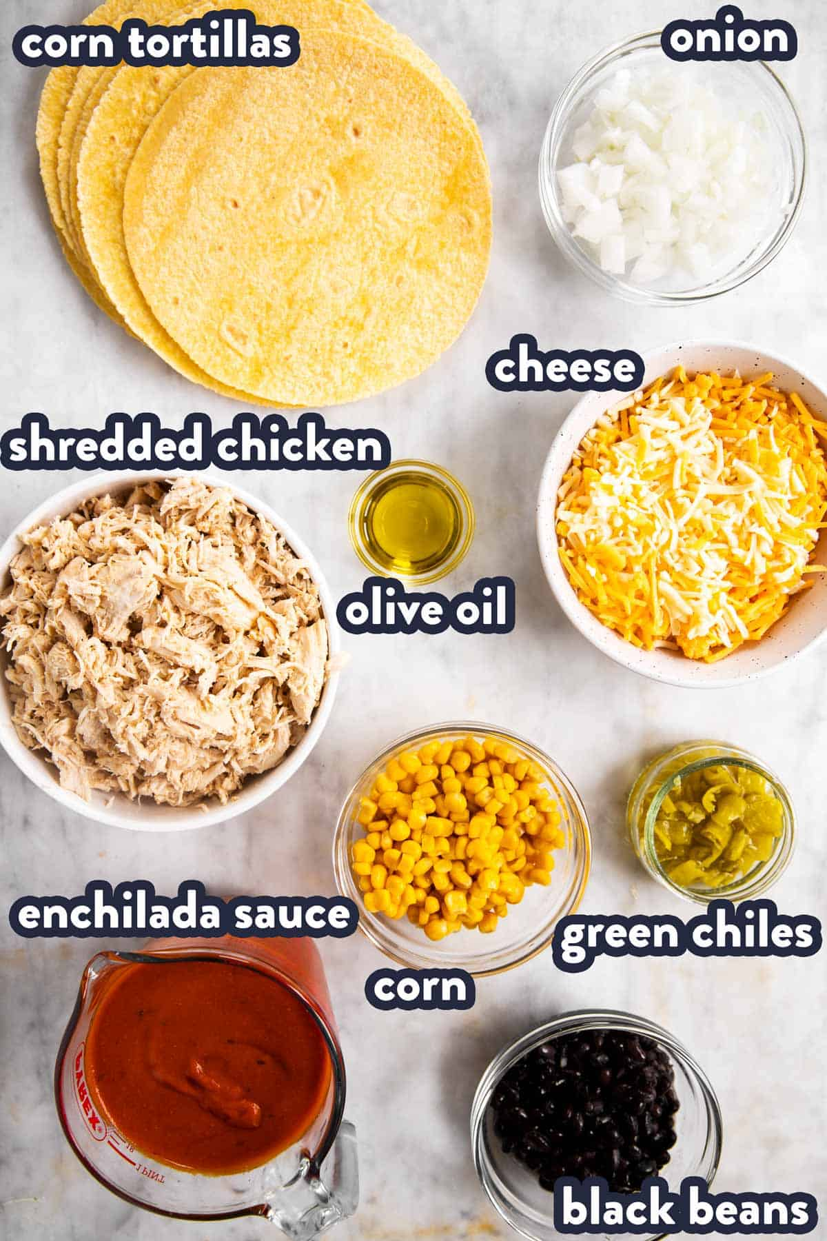 ingredients for chicken enchiladas with text labels
