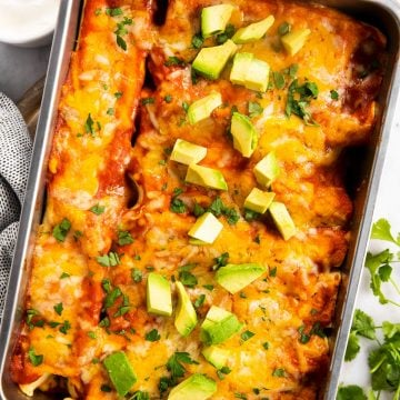 overhead view of chicken enchiladas in casserole dish, topped with cilantro and avocado