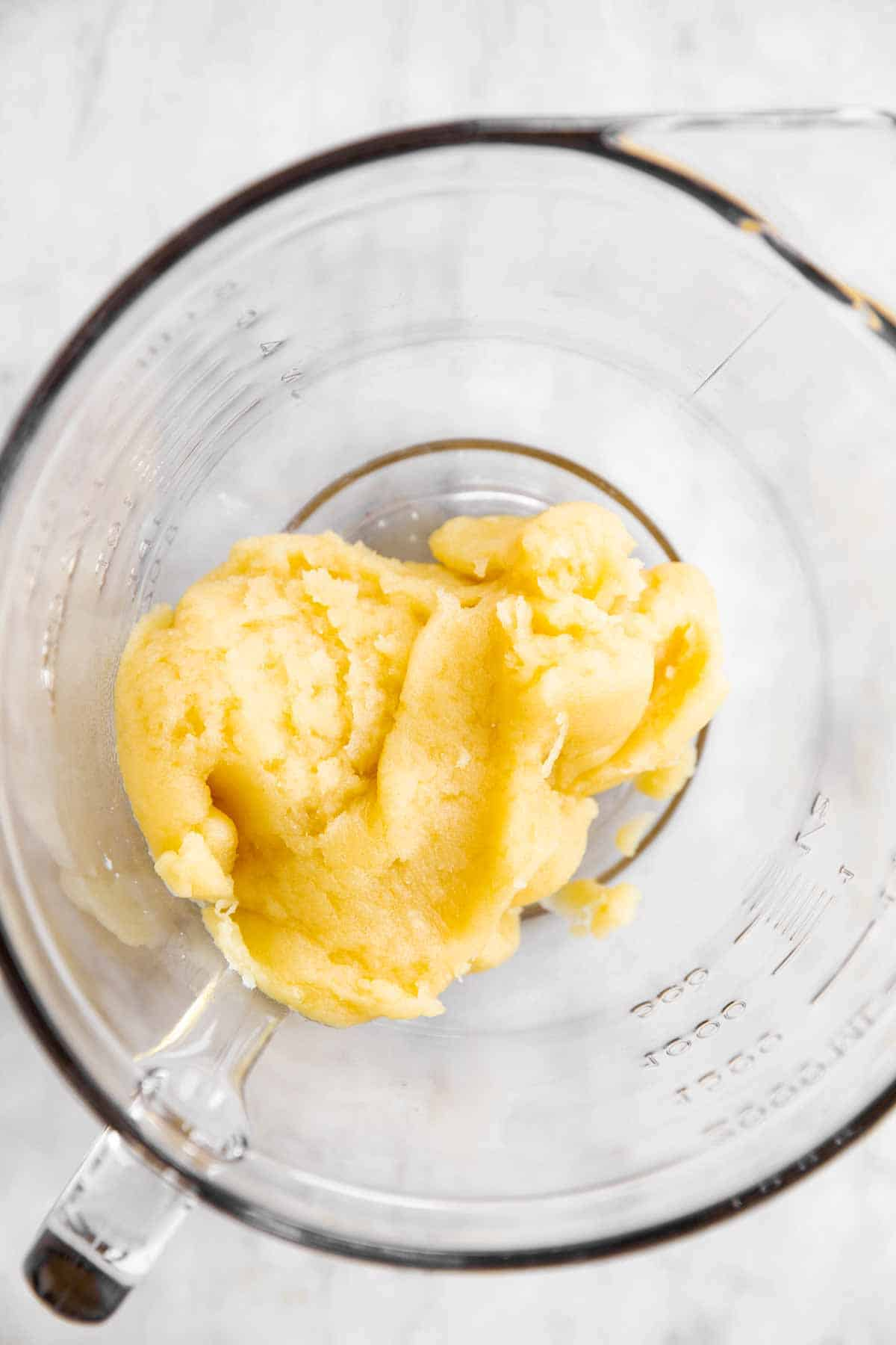 choux pastry in glass bowl