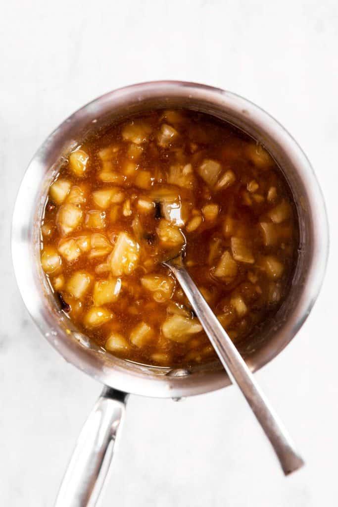 cooked brown sugar pineapple glaze in saucepan