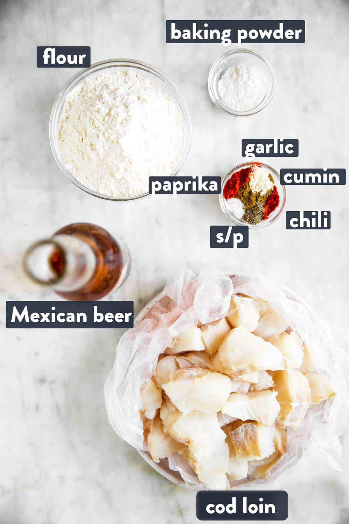 ingredients for fried fish to make Baja fish tacos with text labels