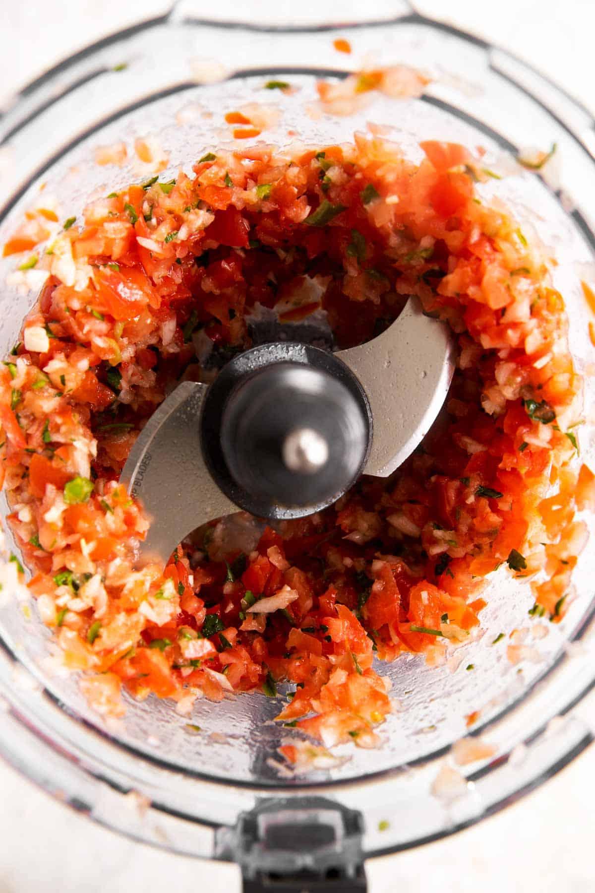 fresh salsa in food processor bowl