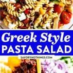 Greek Pasta Salad Image Pin 1