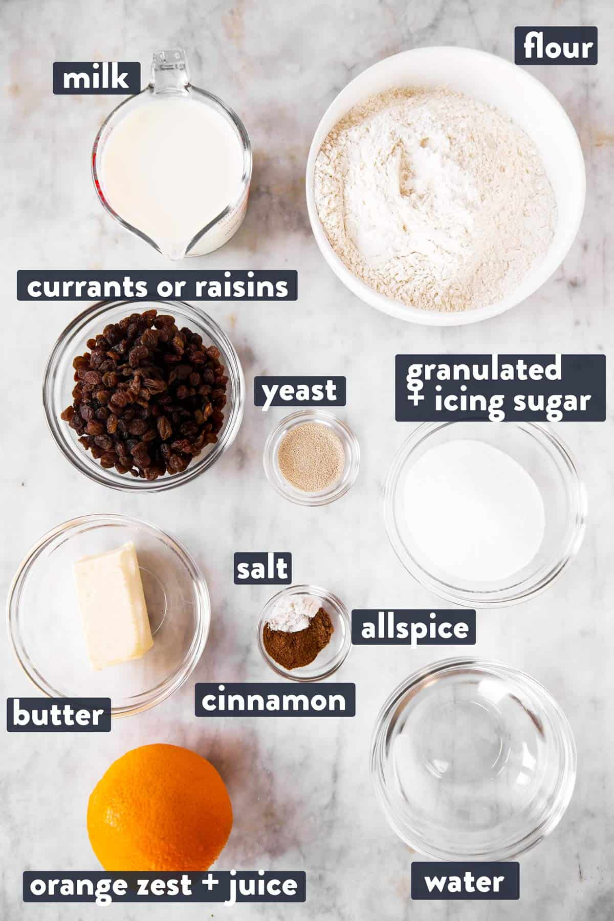 ingredients for hot cross buns with text labels