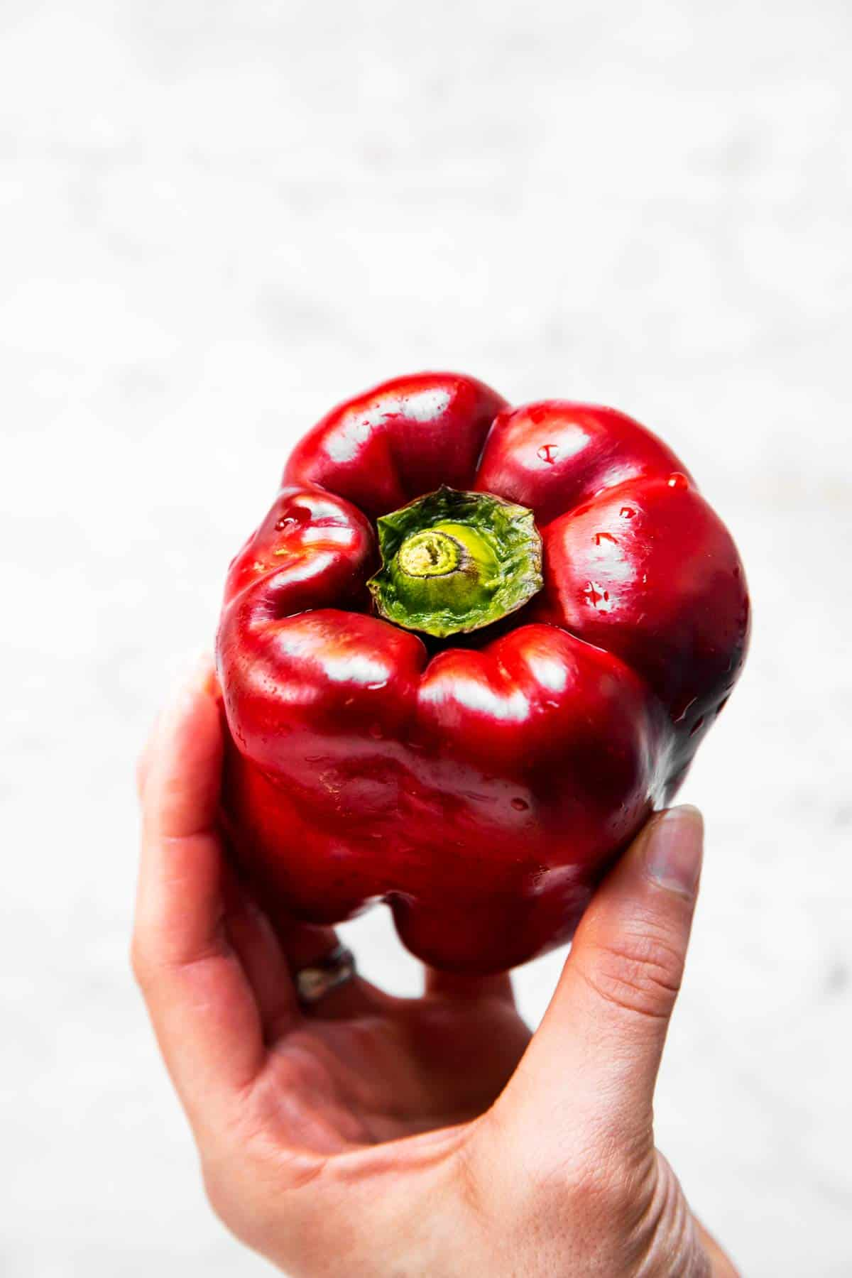 female hand holding a red bell pepper