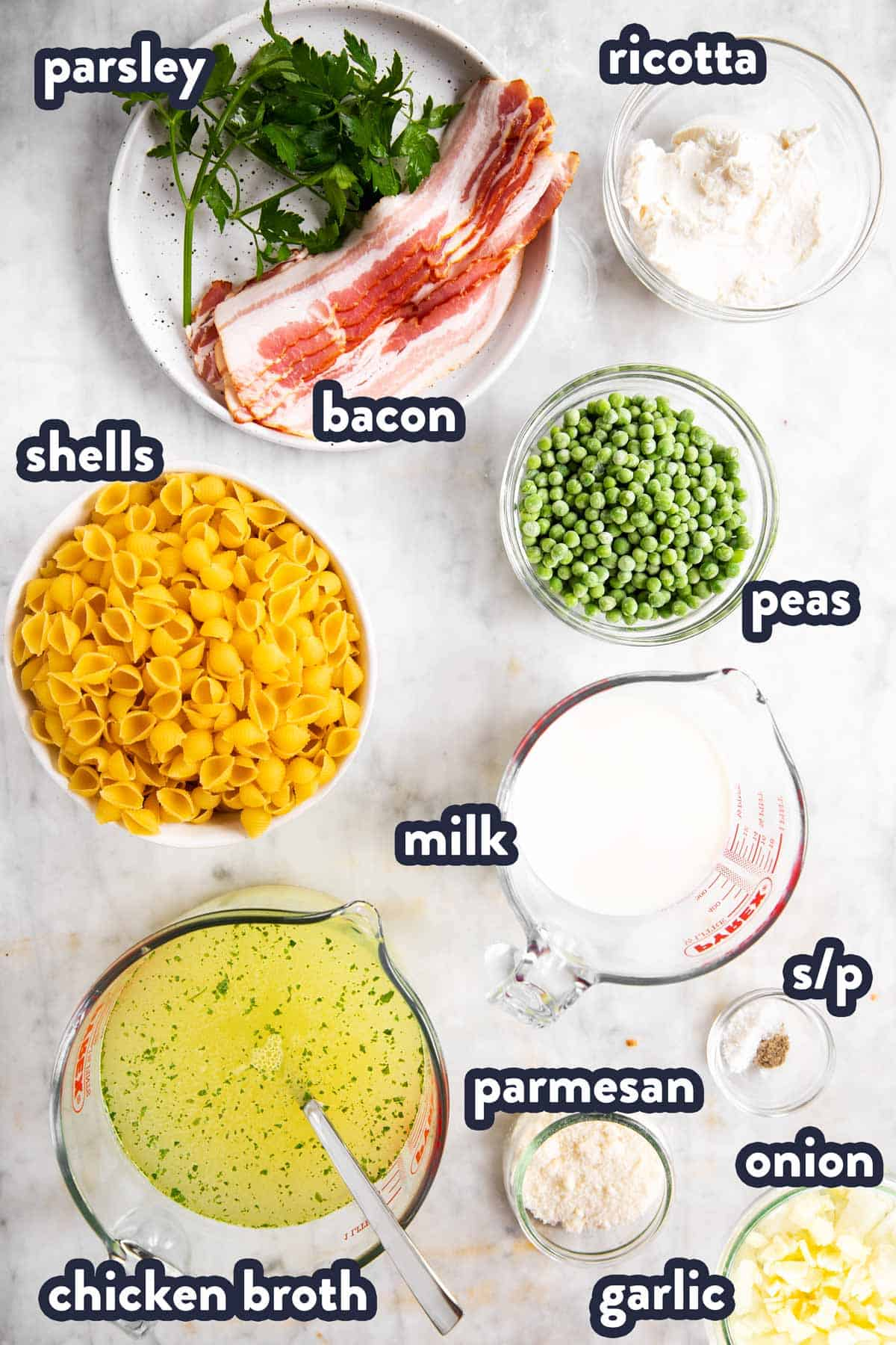 ingredients for pea and bacon pasta with text labels