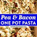 Pea and Bacon Pasta Image Pasta Pin 1