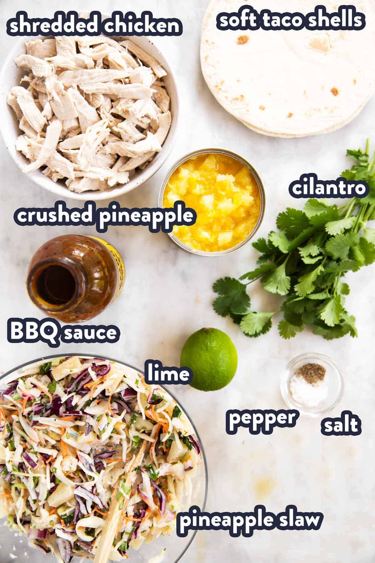 ingredients for pineapple bbq pulled chicken tacos with text labels