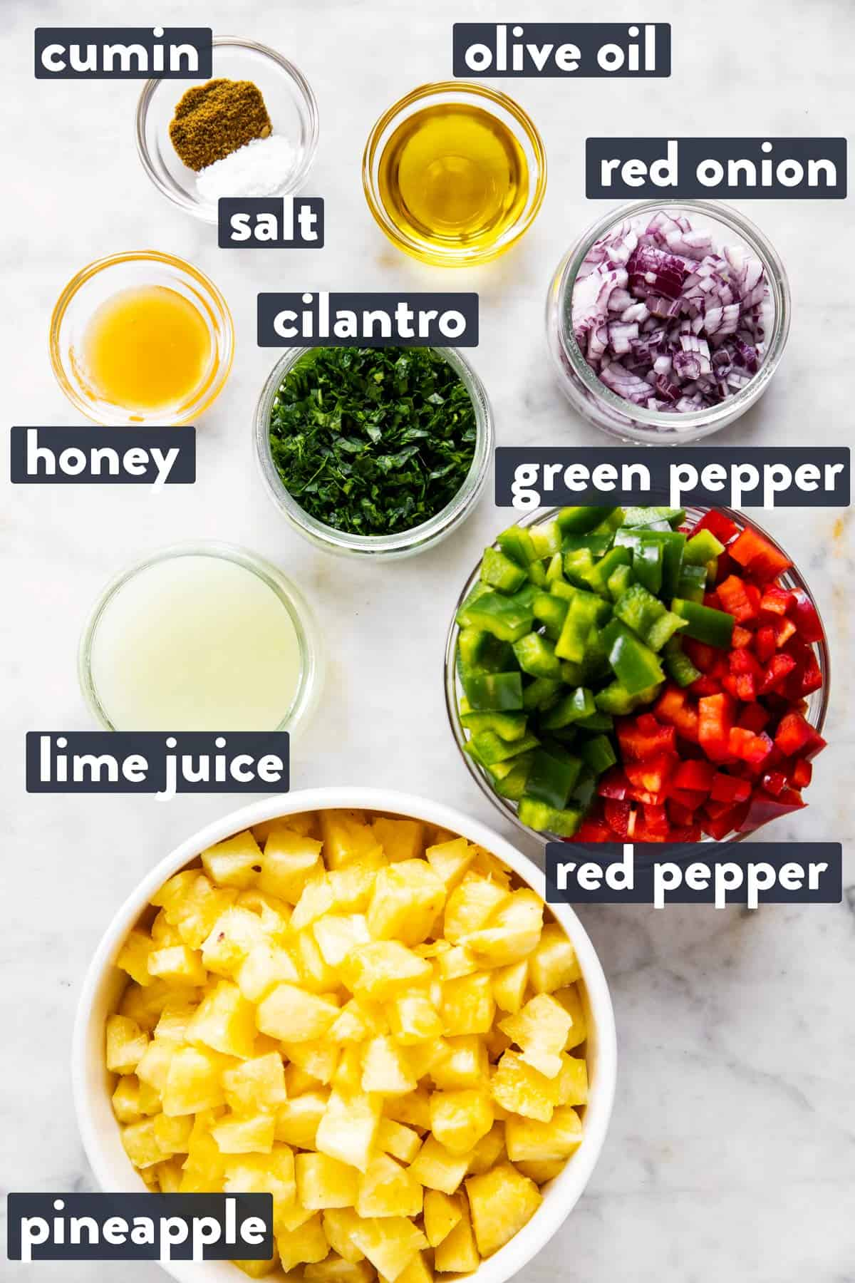 ingredients for pineapple salsa with text labels