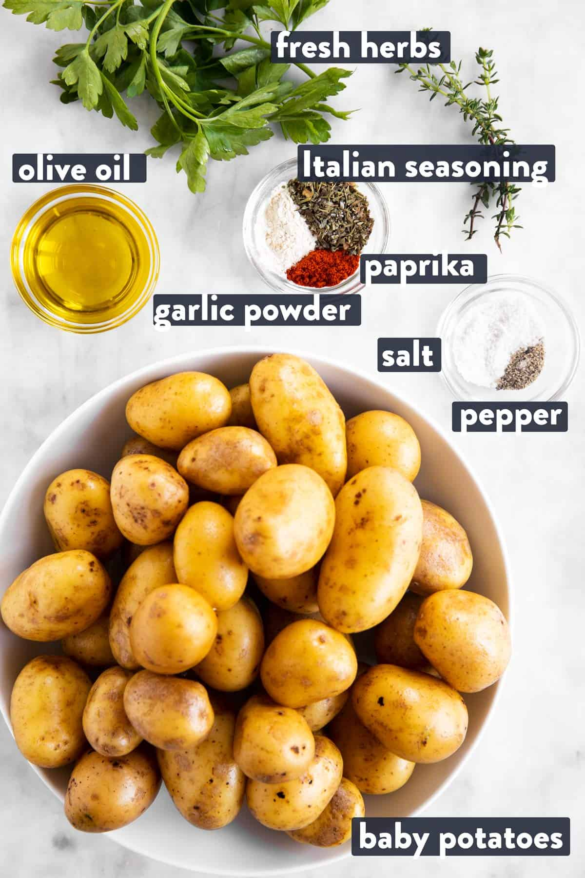 ingredients for roasted baby potatoes with text labels