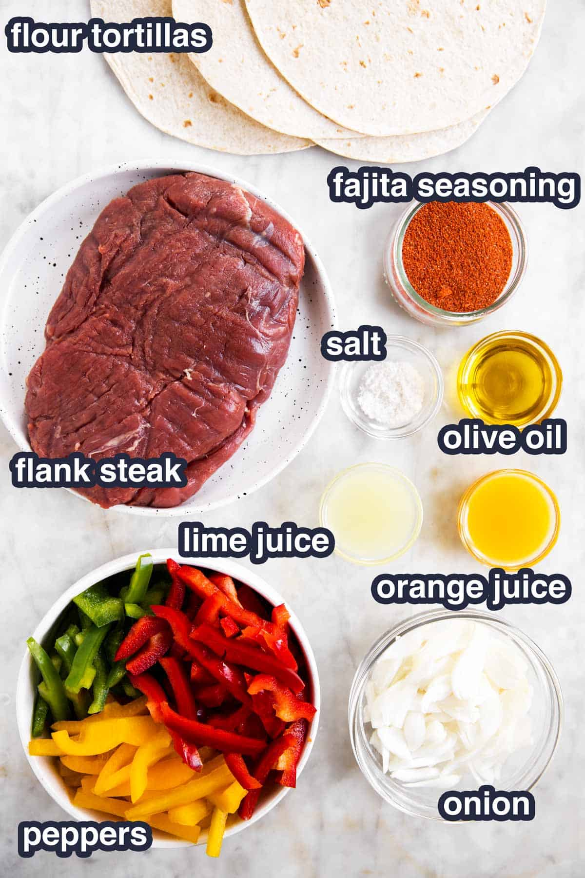 ingredients for steak fajitas with text labels