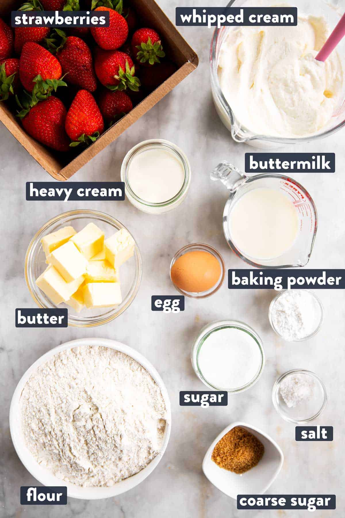 ingredients for strawberry shortcake with text labels