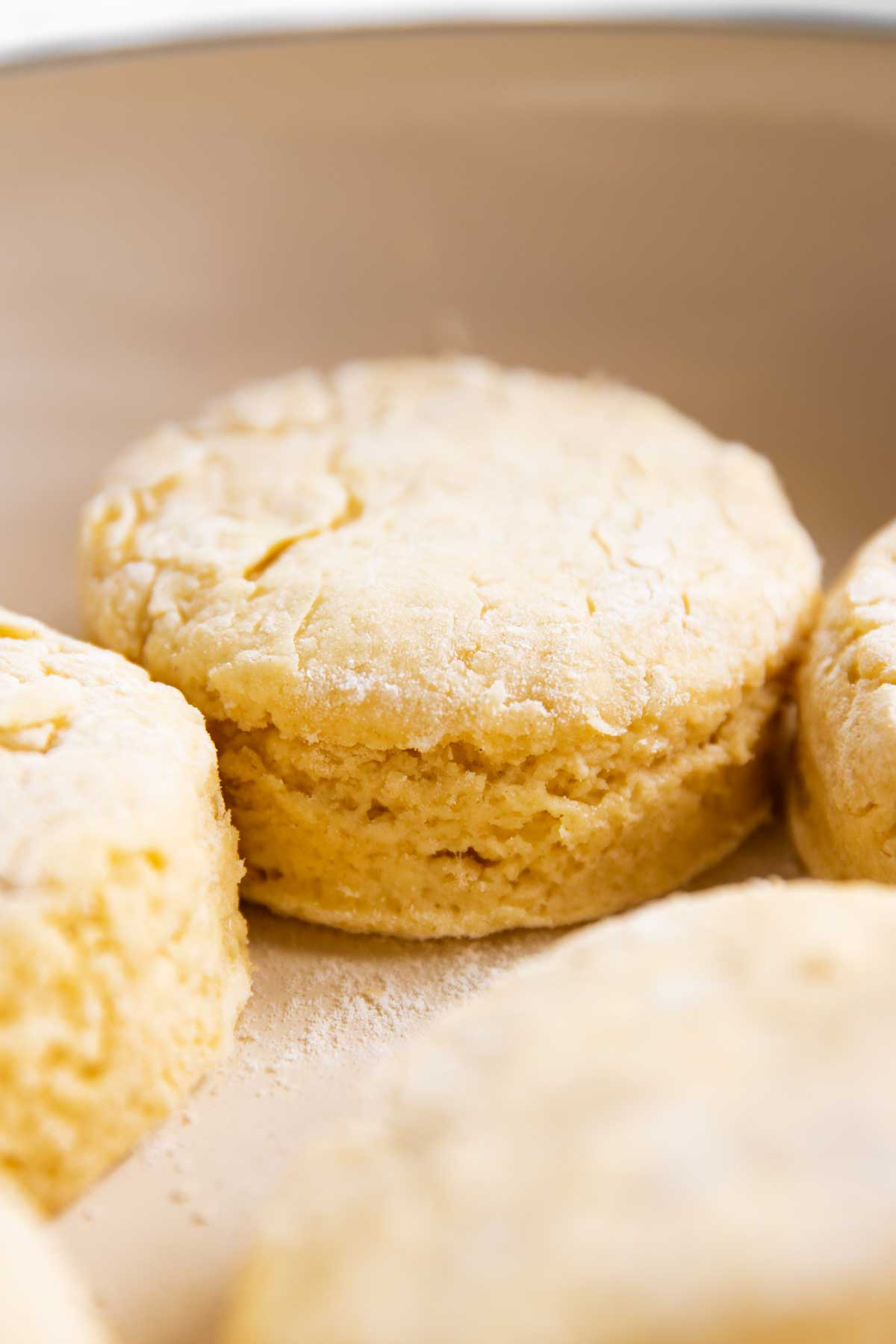 close up view of unbaked biscuit