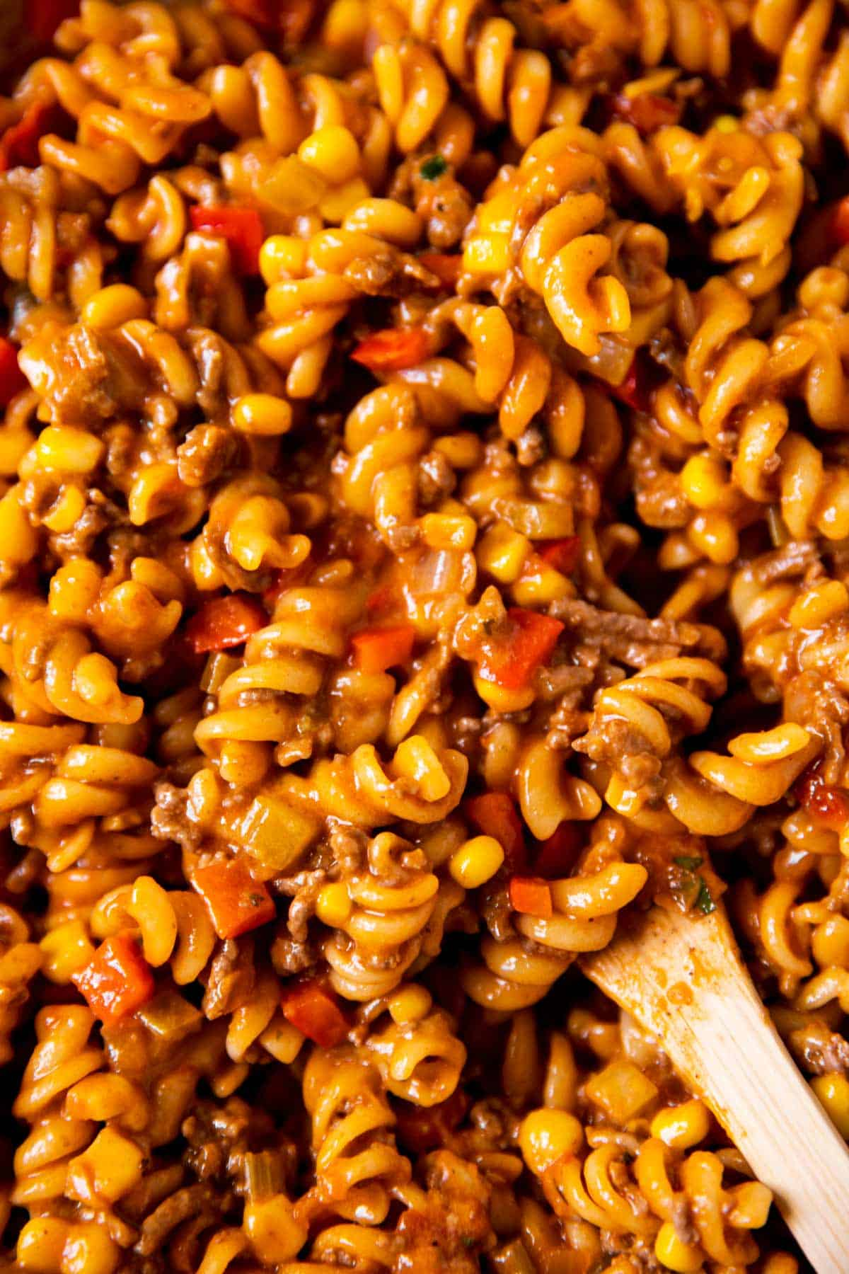 close up photo of taco pasta