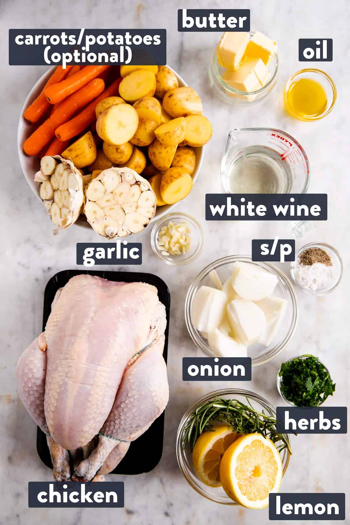 ingredients for whole roasted chicken with text labels