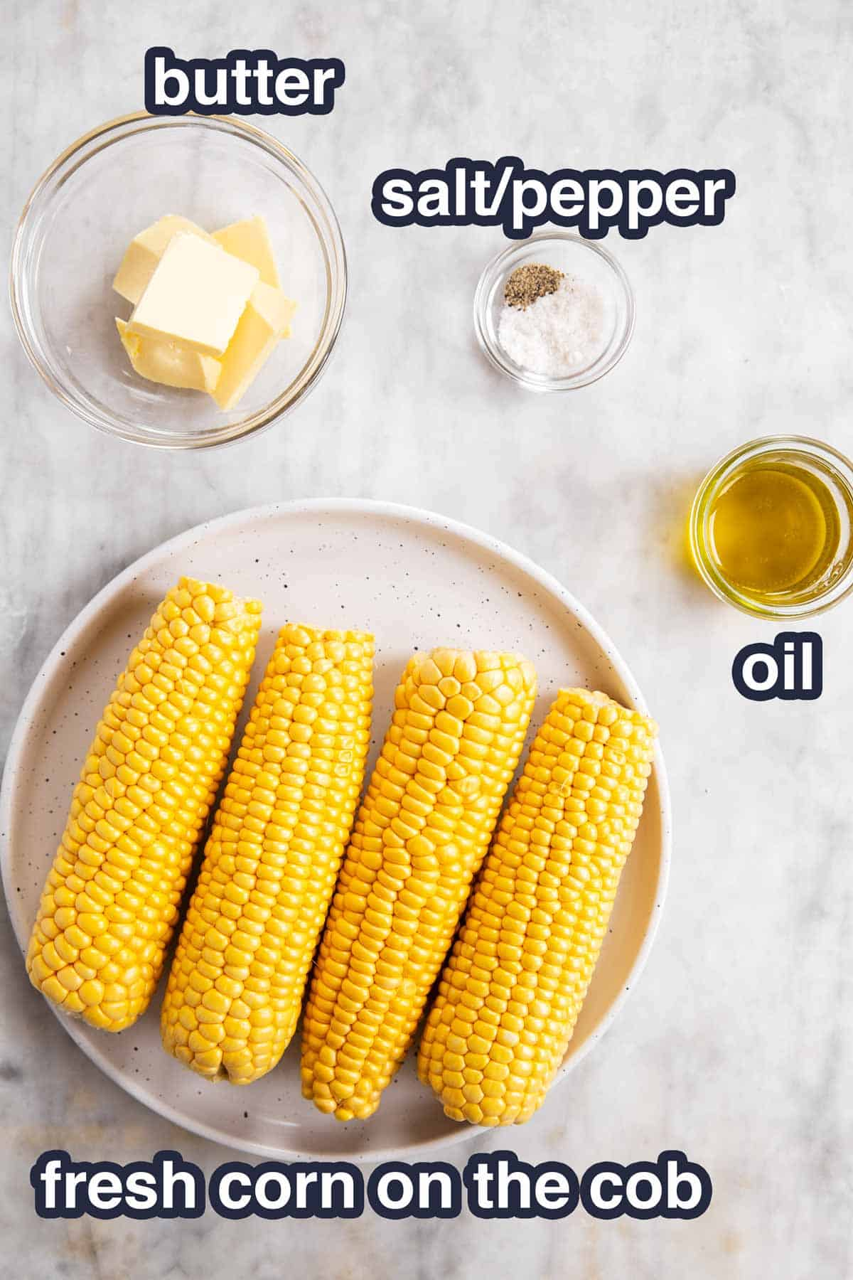 ingredients for air fryer corn on the cob with text labels